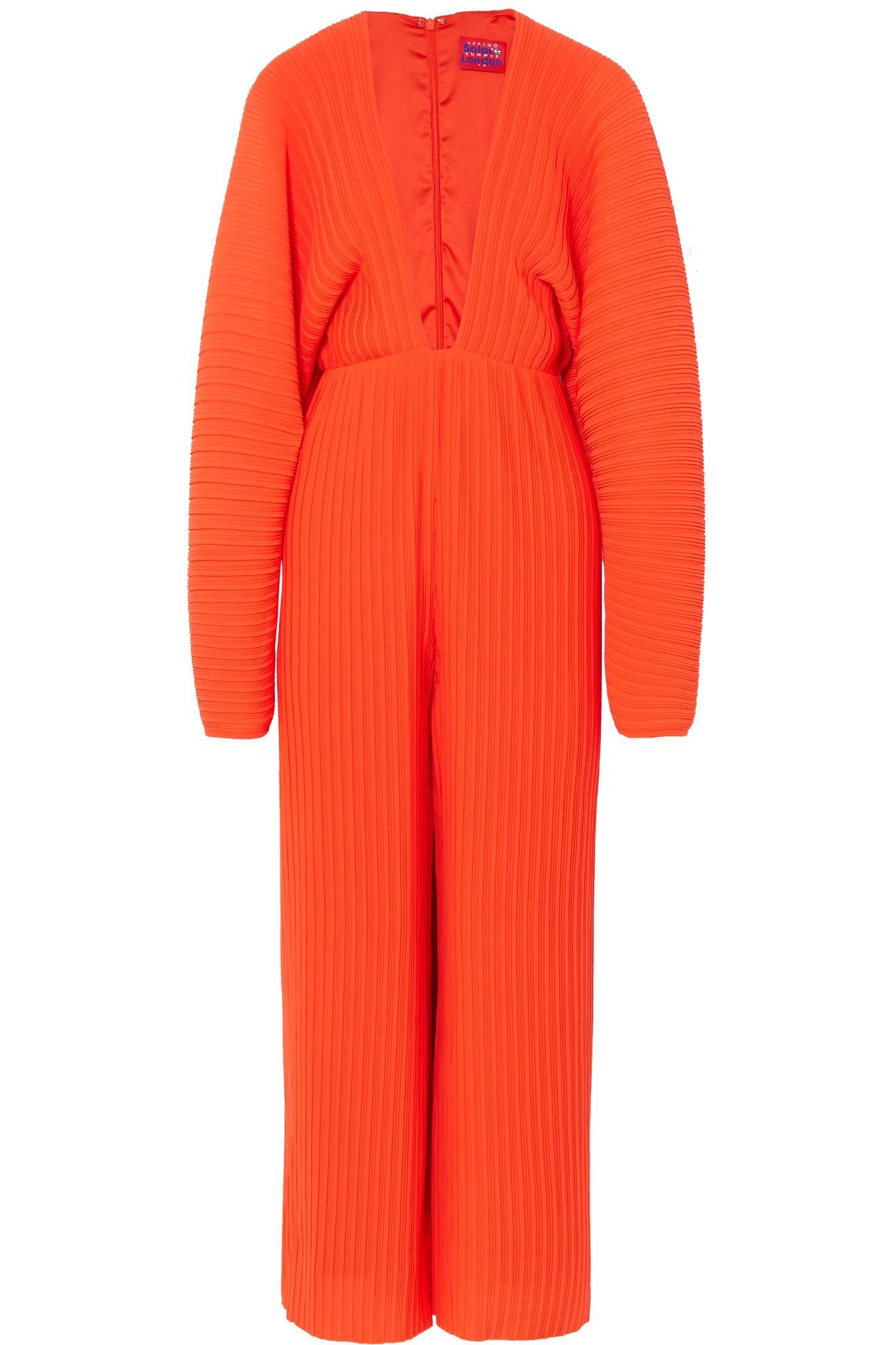 ce588ba78df7 Solace London Livia Plissé-chiffon Jumpsuit in Red - Lyst