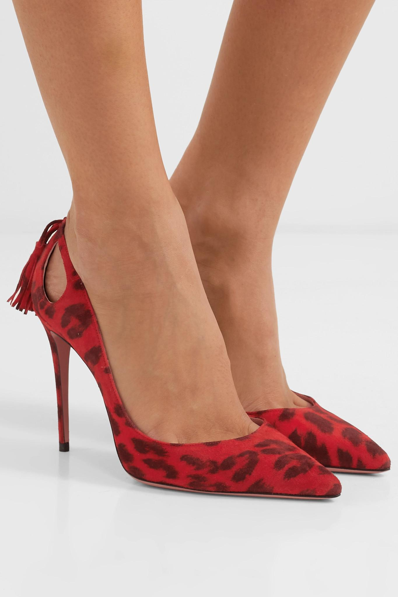 1744a0d1d044 Aquazzura - Red Forever Marilyn 105 Leopard-print Cutout Tasseled Suede  Pumps - Lyst. View fullscreen