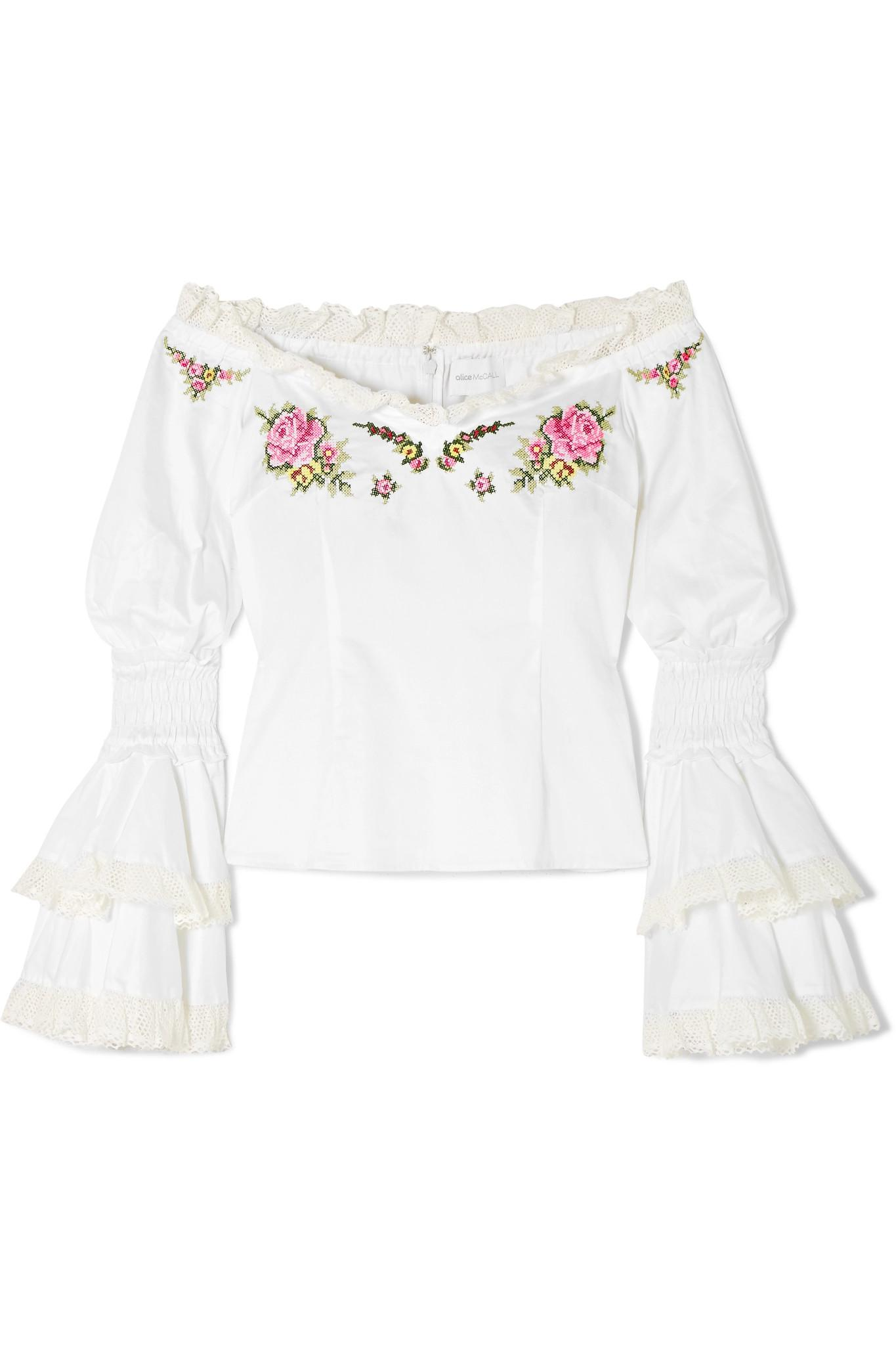 Buy Cheap 2018 Bon Voyage Off-the-shoulder Embroidered Cotton Blouse - White Alice McCall Outlet Countdown Package Buy Cheap Wide Range Of Cheap Choice Marketable Sale Online AddymlaM