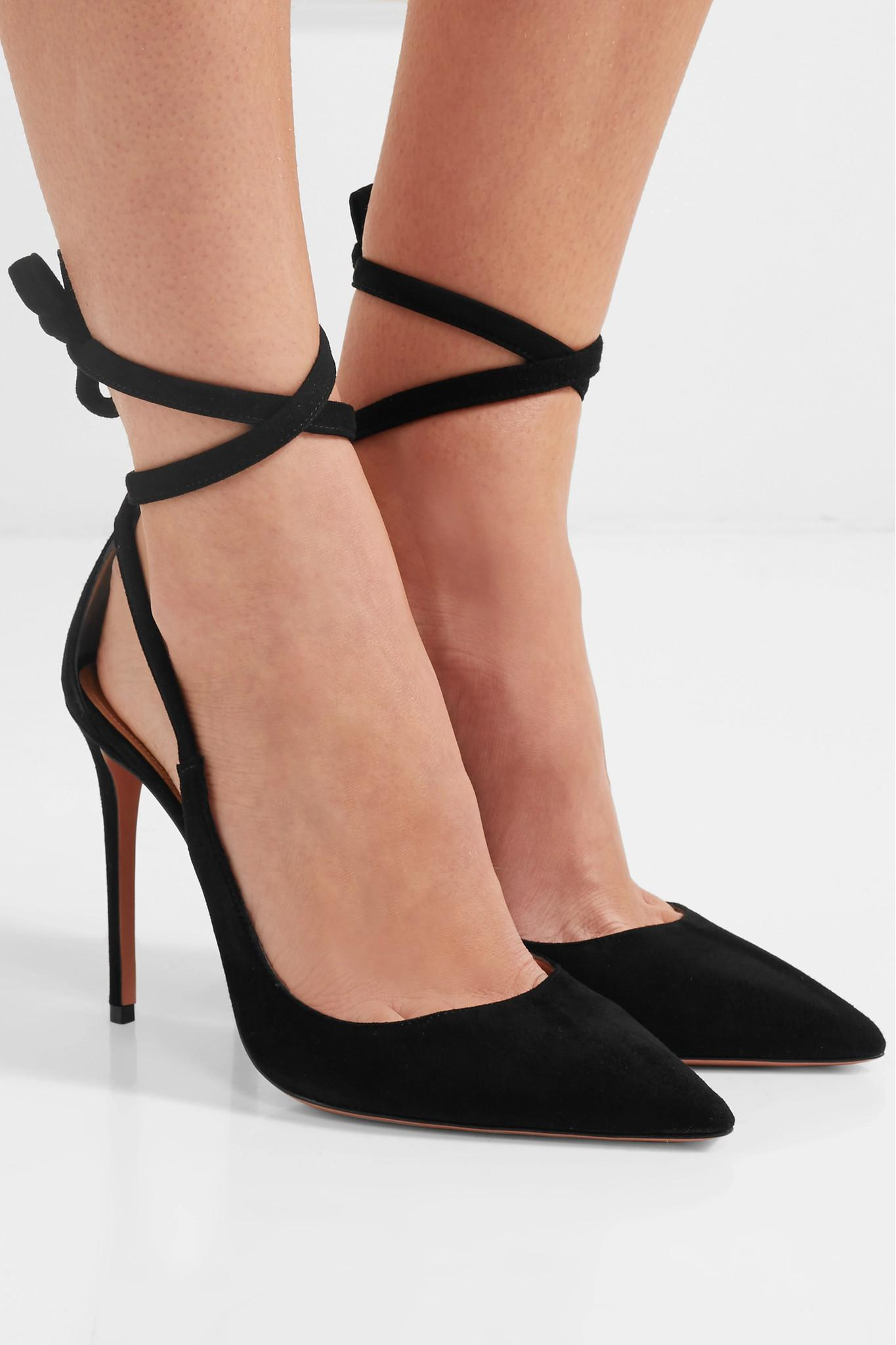 Fire Embellished Metallic Leather-trimmed Suede Pumps - Black Aquazzura YPP245T7I