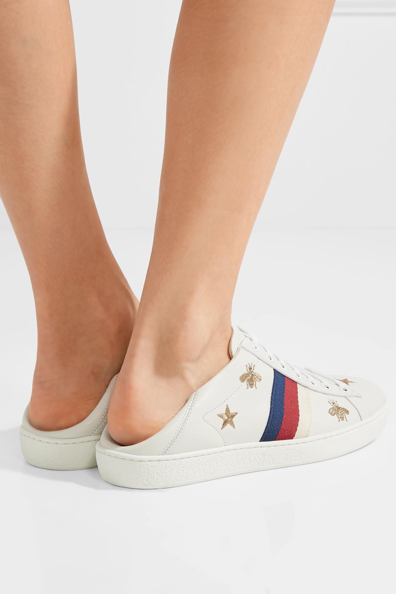 6a9a9ef1e6f Gucci - White Ace Embroidered Collapsible-heel Leather Sneakers - Lyst.  View fullscreen
