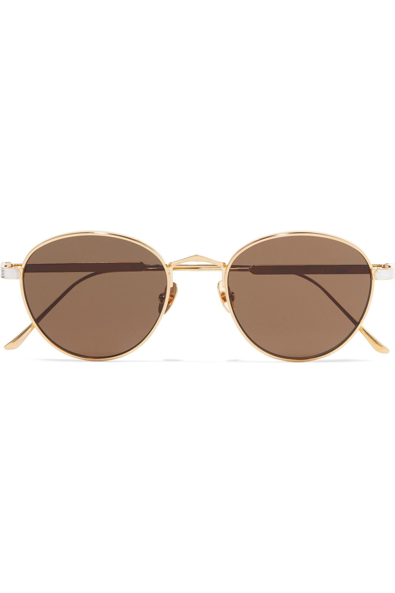 dc9d3291fa5e Cartier - Metallic Round-frame Gold And Silver-plated Sunglasses - Lyst.  View fullscreen