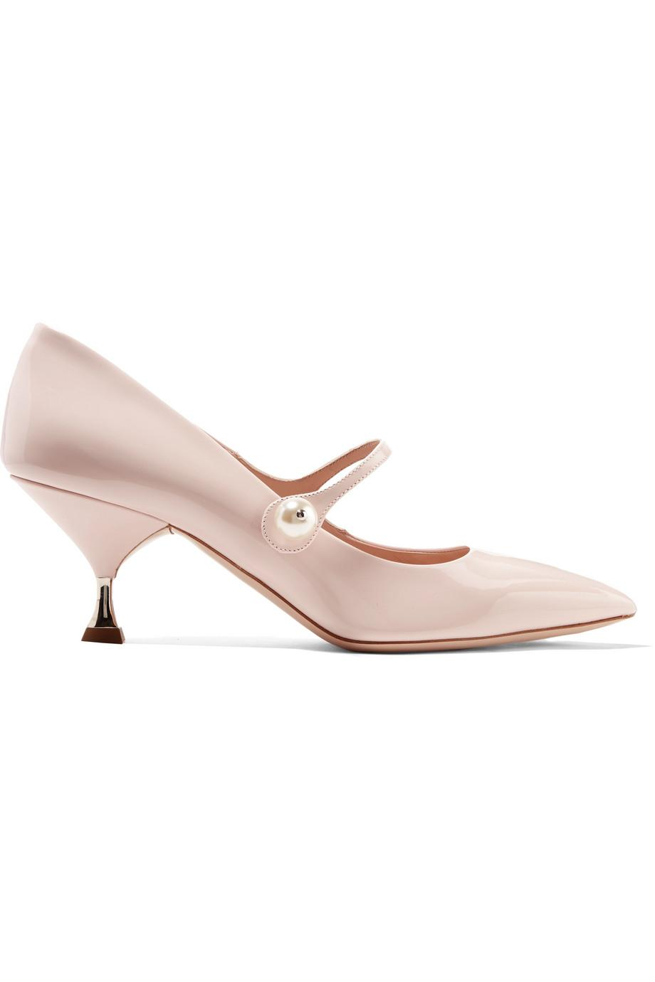 Faux Pearl-embellished Patent-leather Pumps - Pastel pink Miu Miu VlmAX
