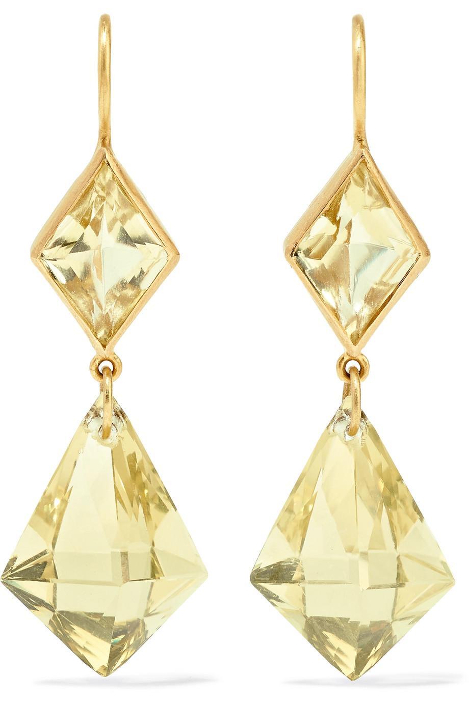 Marie-Hélène de Taillac 22-karat Gold Quartz Earrings q0DB16g001