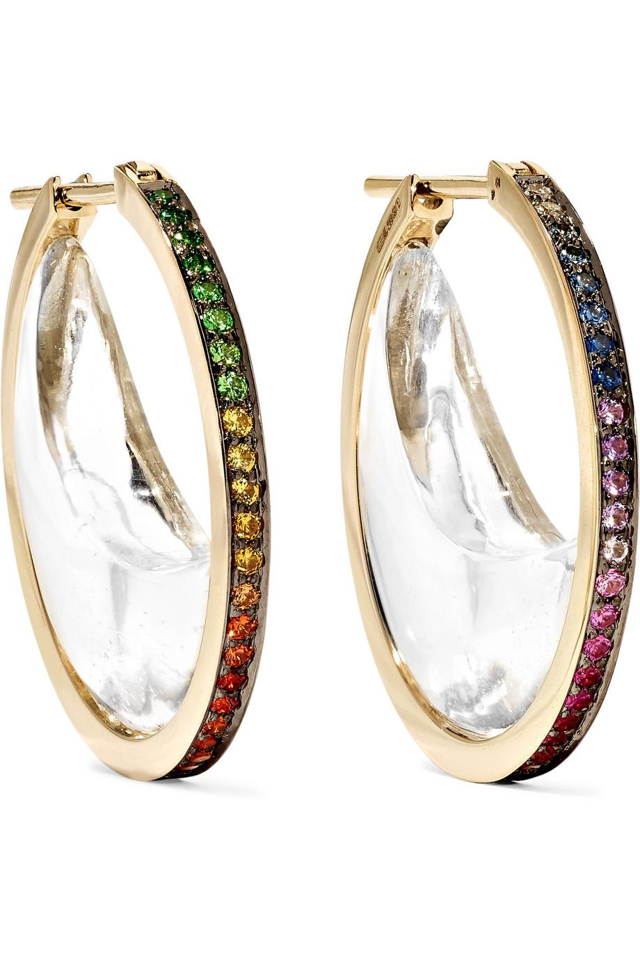 Noor Fares 18-karat Gray Gold Multi-stone Earrings a0Xt4