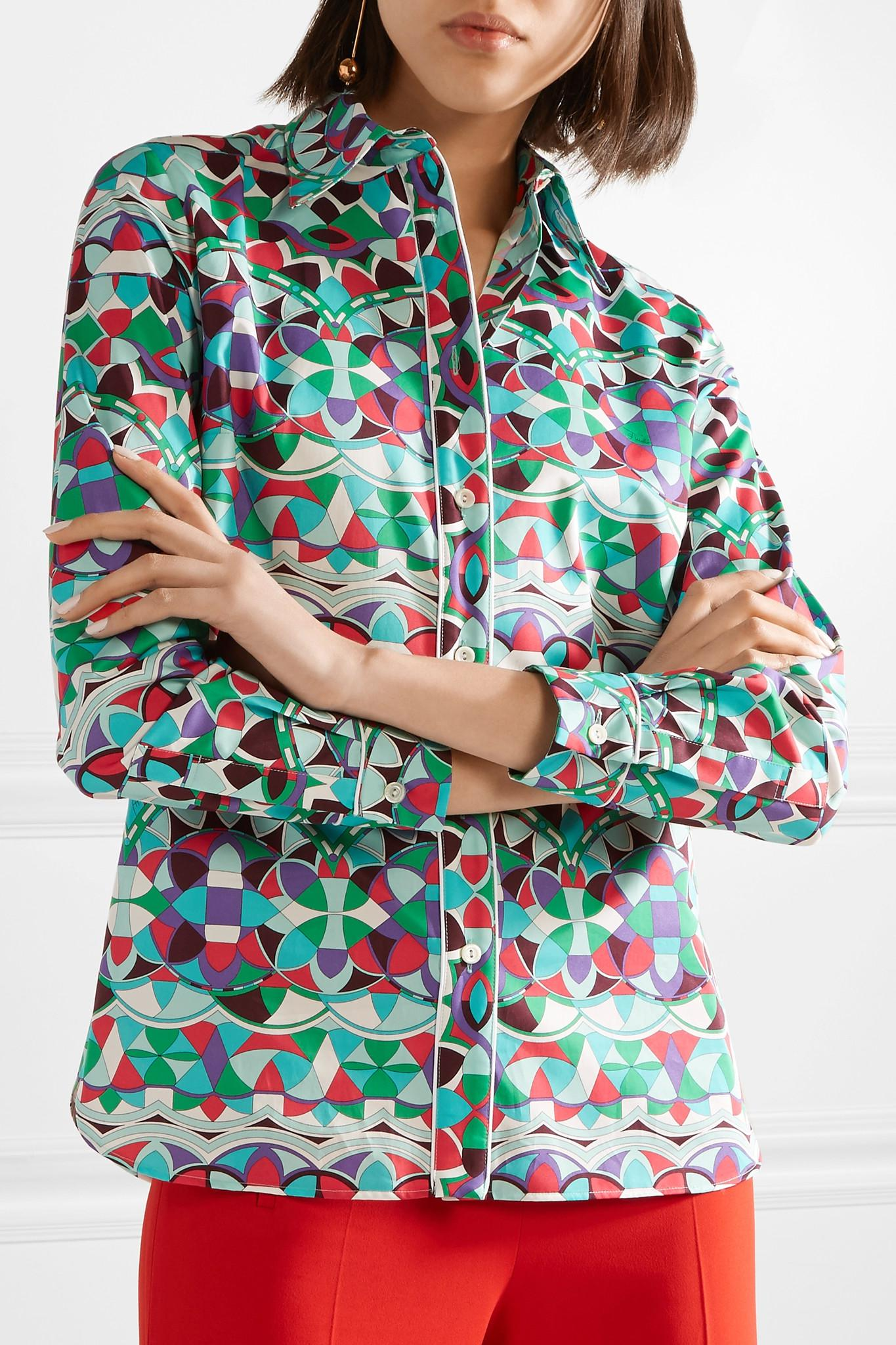 All Seasons Available Find Great Cheap Online Printed Cotton-poplin Shirt - Mint Emilio Pucci New Arrival Cheap Price Largest Supplier Cheap Price wdhV4G
