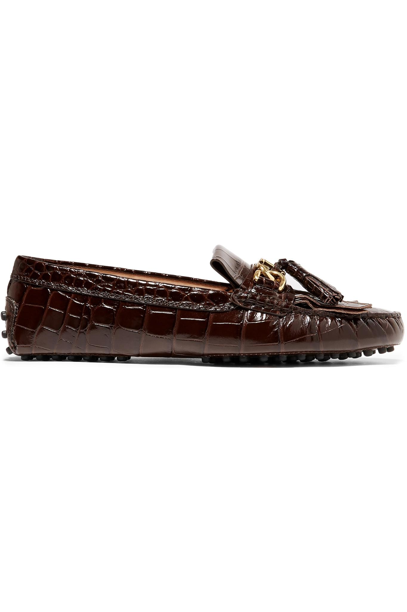 00ba20ce06a Lyst - Tod s Gommino Tasseled Croc-effect Patent-leather Loafers in ...