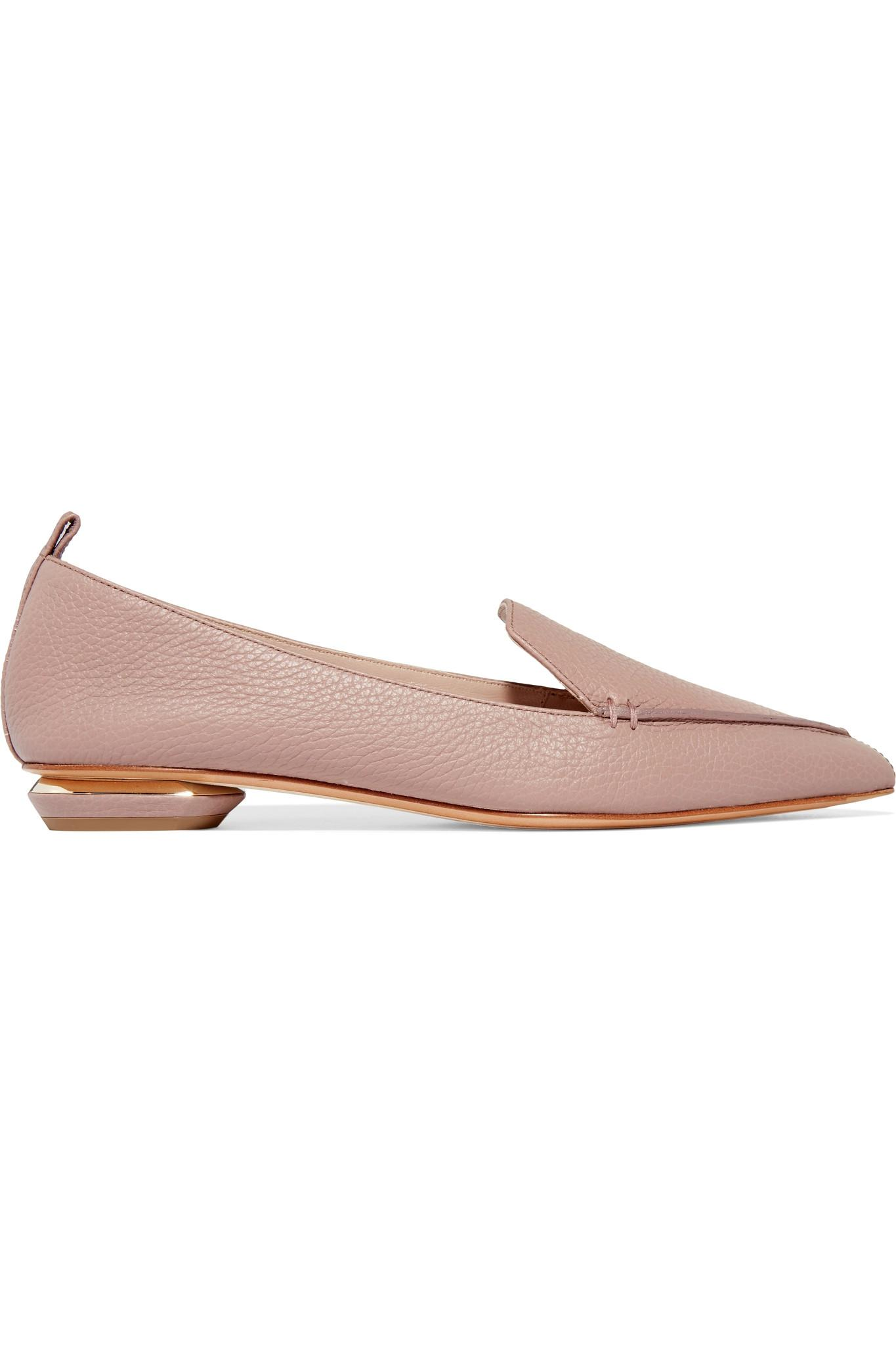 9be7269d06fd Lyst - Nicholas Kirkwood Beya Textured-leather Point-toe Flats in Pink