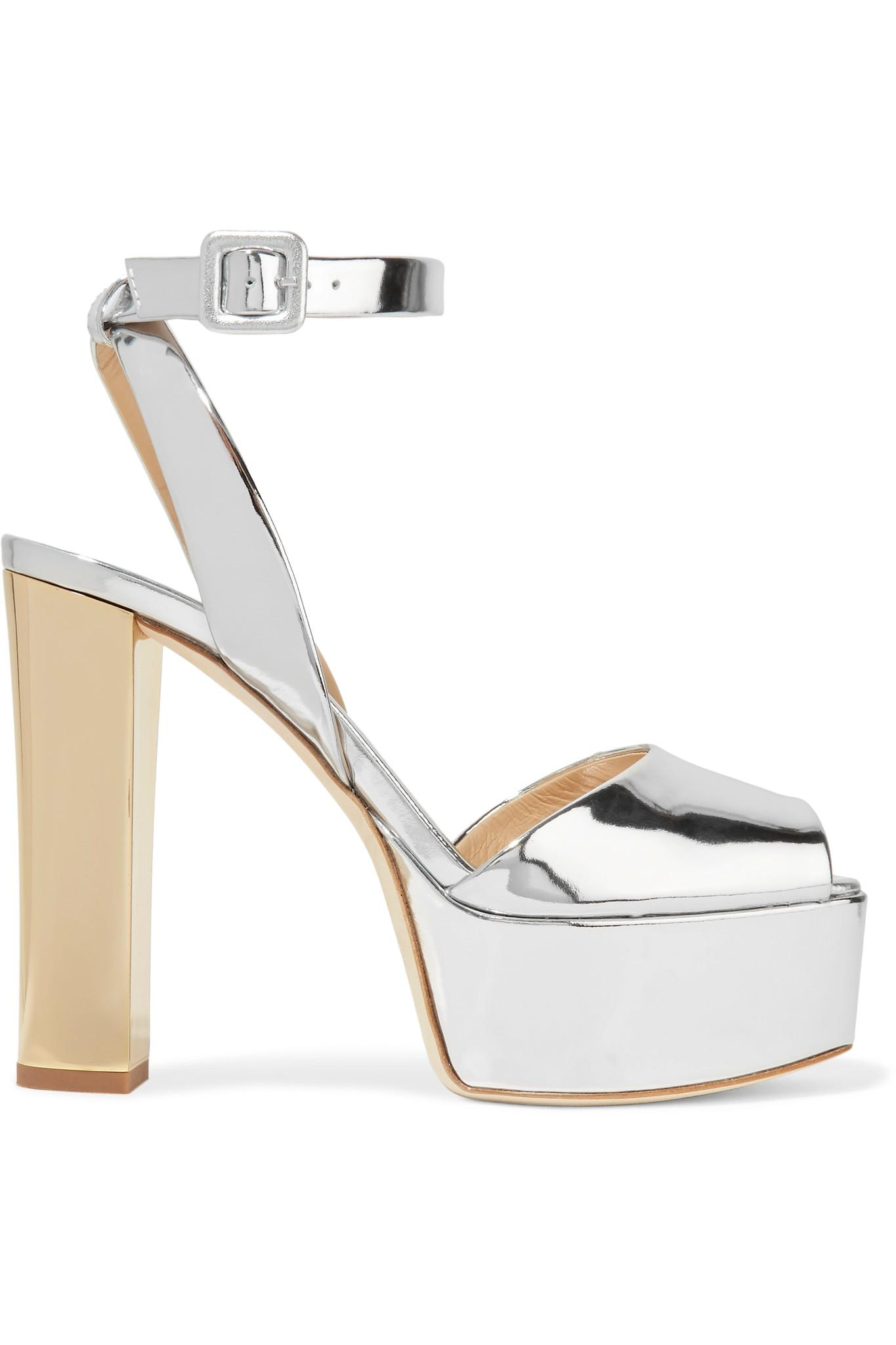 29d191ccb38e Giuseppe Zanotti Mirrored-leather Platform Sandals in Metallic - Lyst