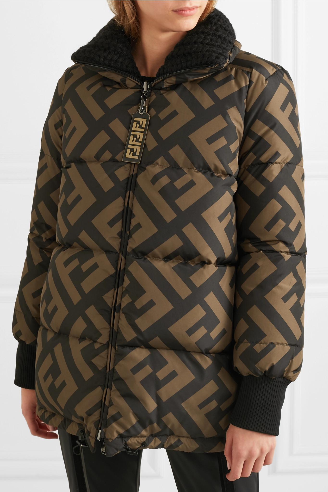 17039df729 Fendi - Black Reversible Wool Blend-trimmed Printed Quilted Down Ski Jacket  - Lyst. View fullscreen