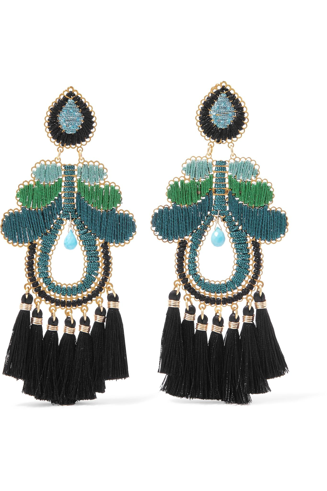 Mercedes Salazar Hibiscus Tasseled Gold-tone Clip Earrings - Black 3sbKylHyr