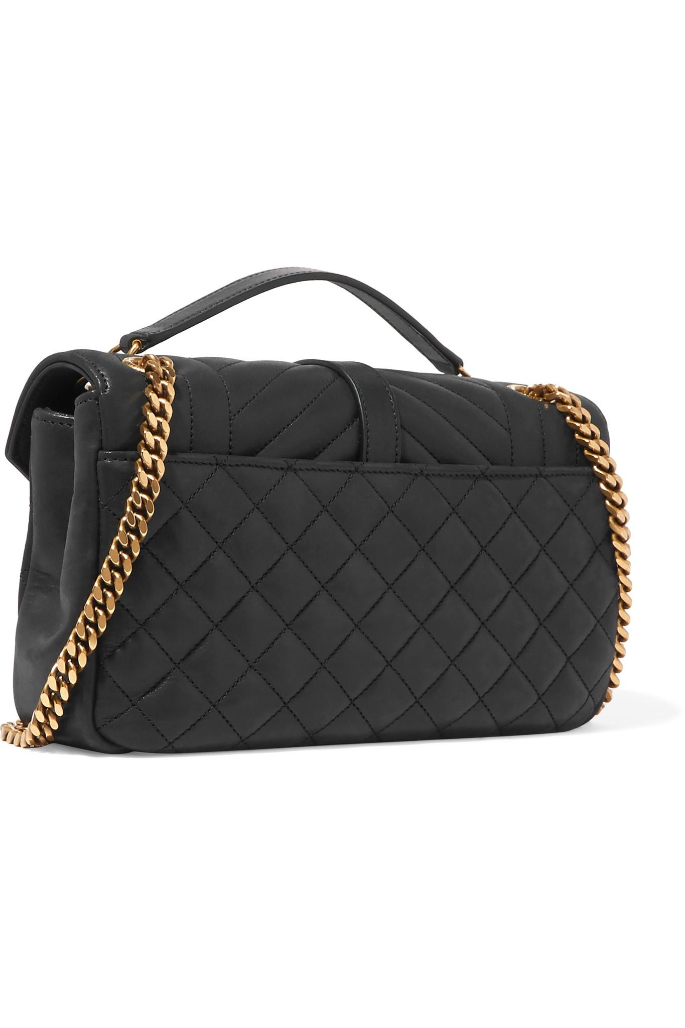 Lyst - Saint Laurent Soft Envelope Quilted Leather Shoulder Bag in Black 526feddf45fa8