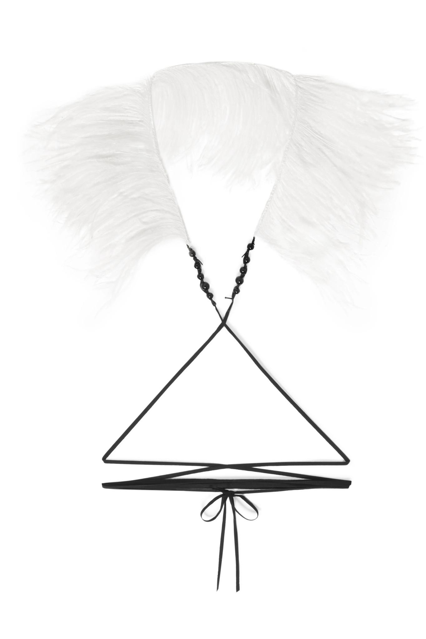 Ann Demeulemeester Cotton, Bead And Feather Necklace - White