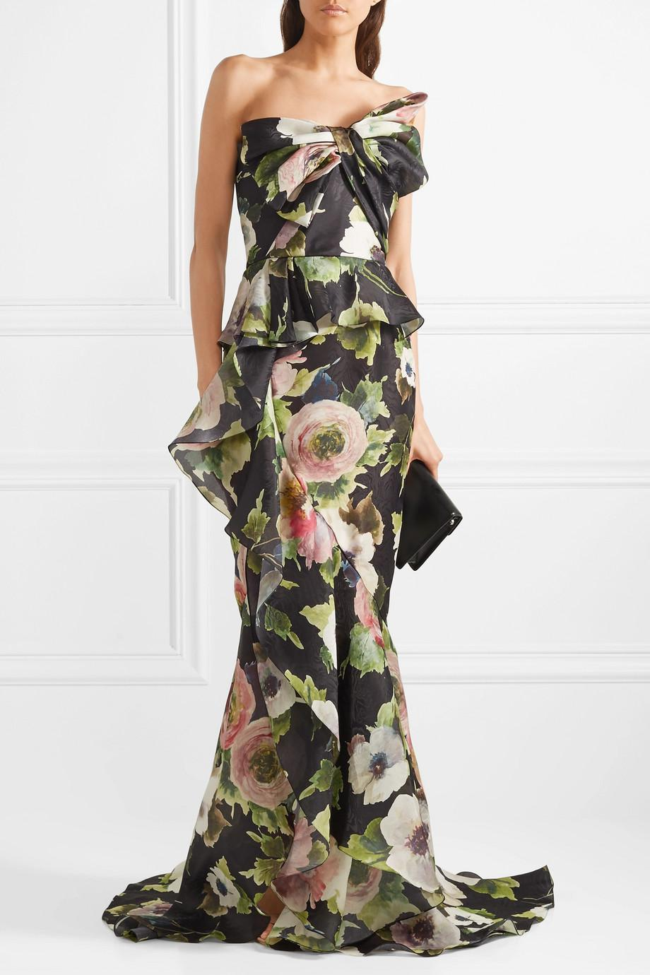 Outlet Online Outlet Official Site Bow-embellished Floral-print Silk-blend Moire Gown - Black Marchesa Free Shipping Cheap Cheap Explore 8Roa8nL9D