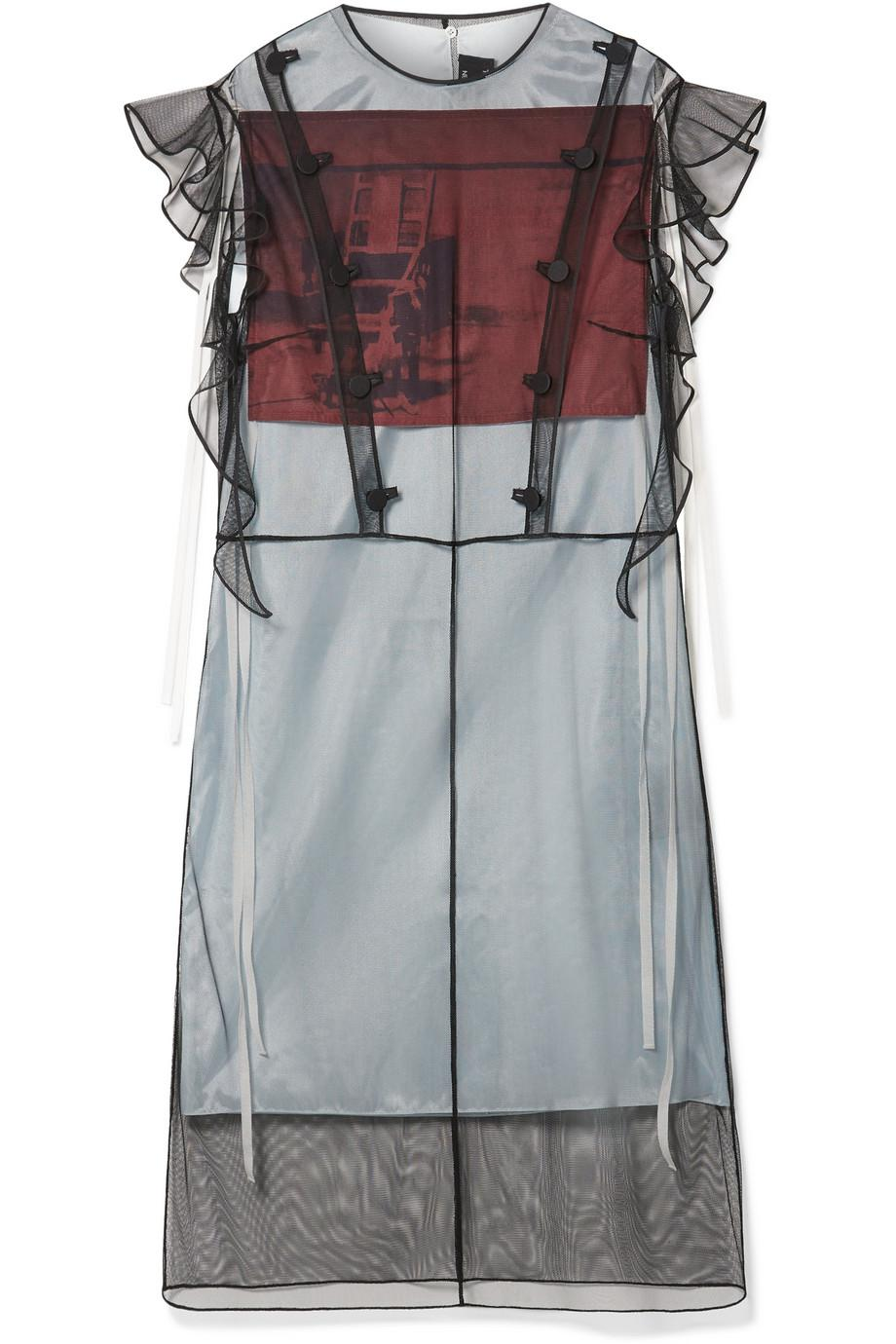 + Andy Warhol Foundation Layered Tulle And Printed Satin Midi Dress - Black CALVIN KLEIN 205W39NYC 5UU00oT1v