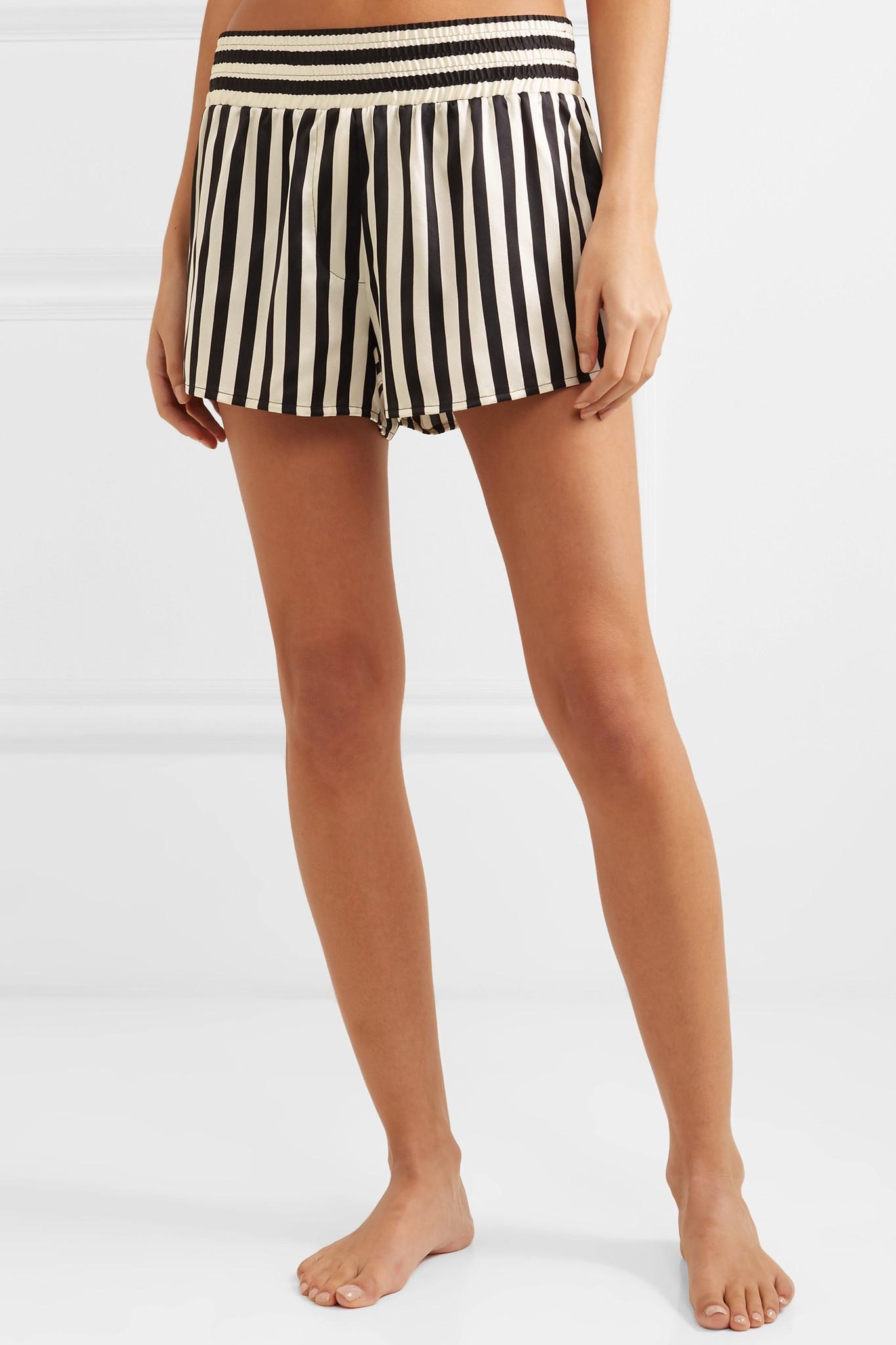 Morgan Lane - Black + Amanda Fatherazi Corey Appliquéd Striped Silk-charmeuse  Pajama Shorts -. View fullscreen 6e21fbd9d