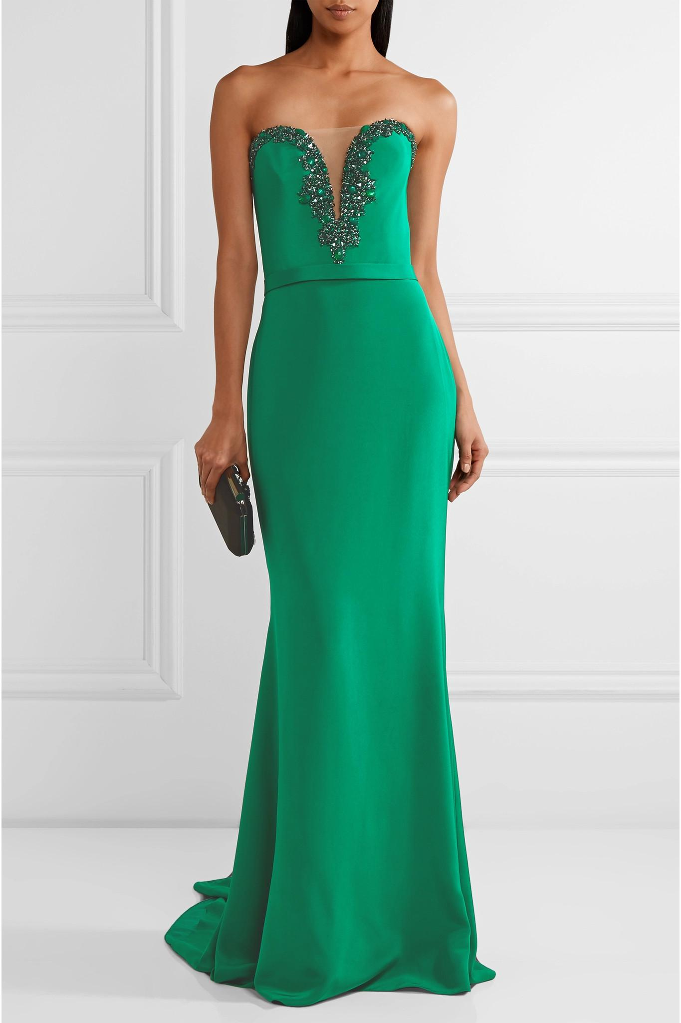 Shopping Online High Quality Tulle-trimmed Embellished Silk Gown - Emerald Reem Acra Free Shipping Sale Online Clearance Explore Sast Sale Online DM1krwNO