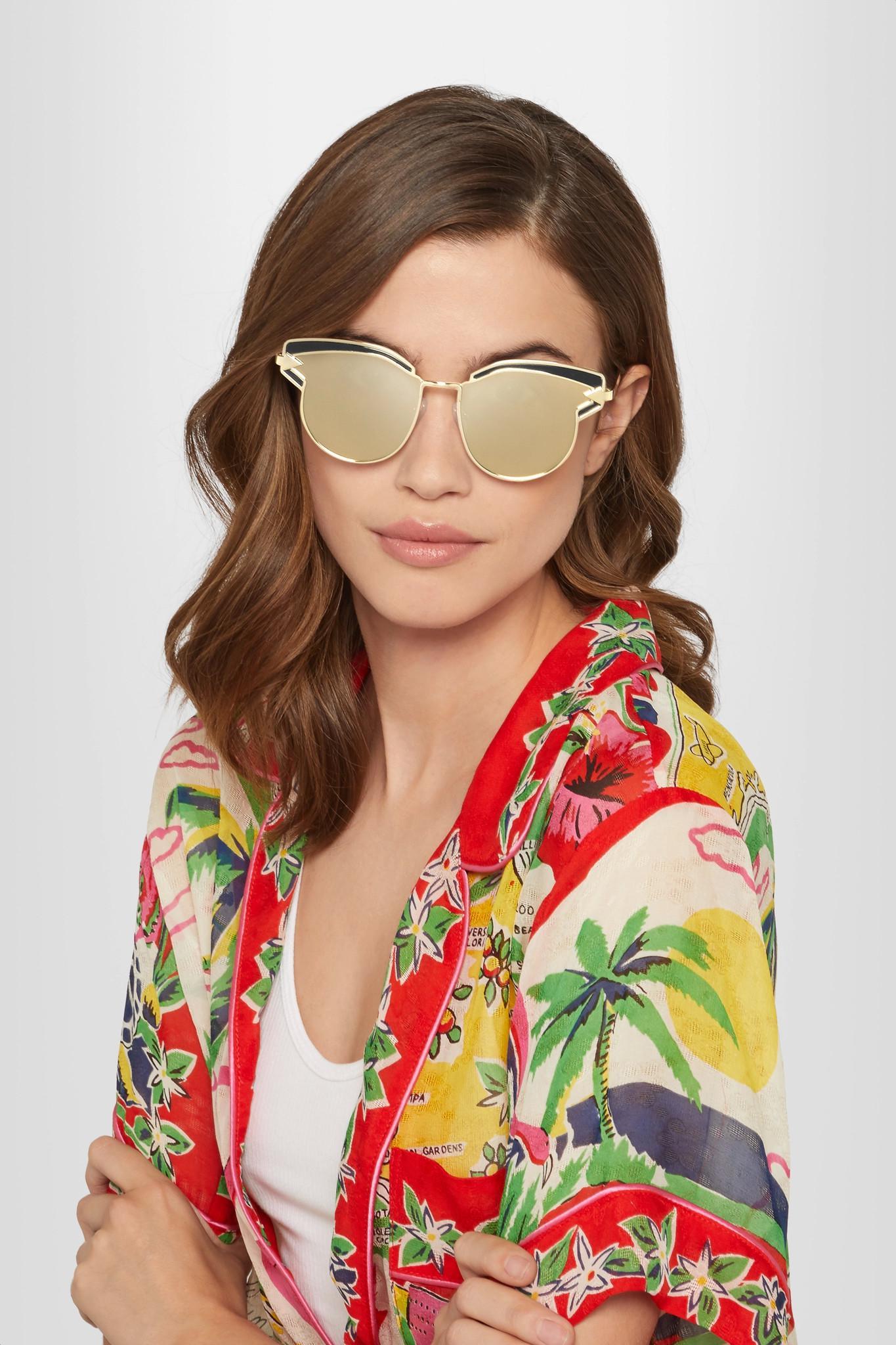 8e212cc7bdcb Lyst - Karen Walker Superstars Felipe Cat-eye Gold-tone Sunglasses ...