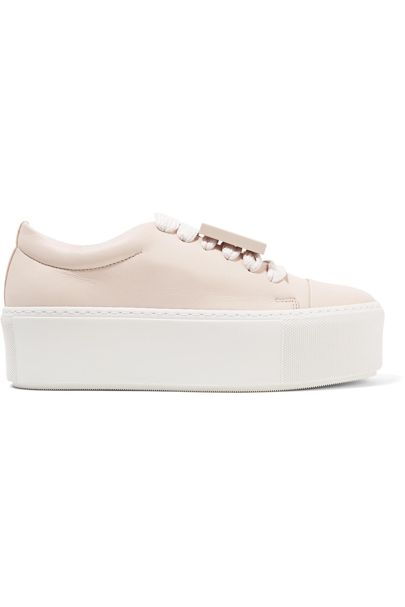 Acne Drihanna Plaque-detailed Leather Platform Sneakers - Pastel Pick A Best Cheap Price wA0FkuDwx8