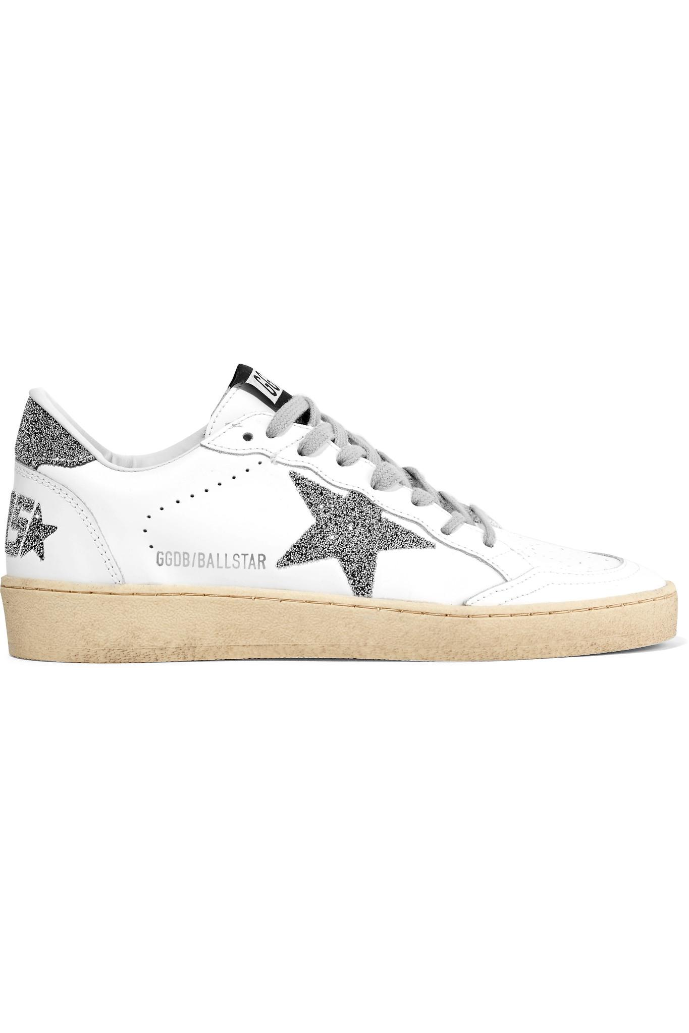 e812b5a3ab5e Golden Goose Deluxe Brand. Women s White Ball Star Swarovski Crystal- embellished Leather Trainers