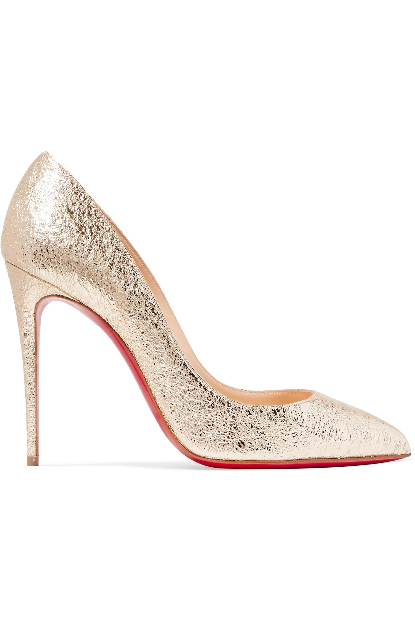 c38337ecfbb7 Christian Louboutin. Women s Pigalle Follies 100 Metallic Crinkled-leather  Court Shoes