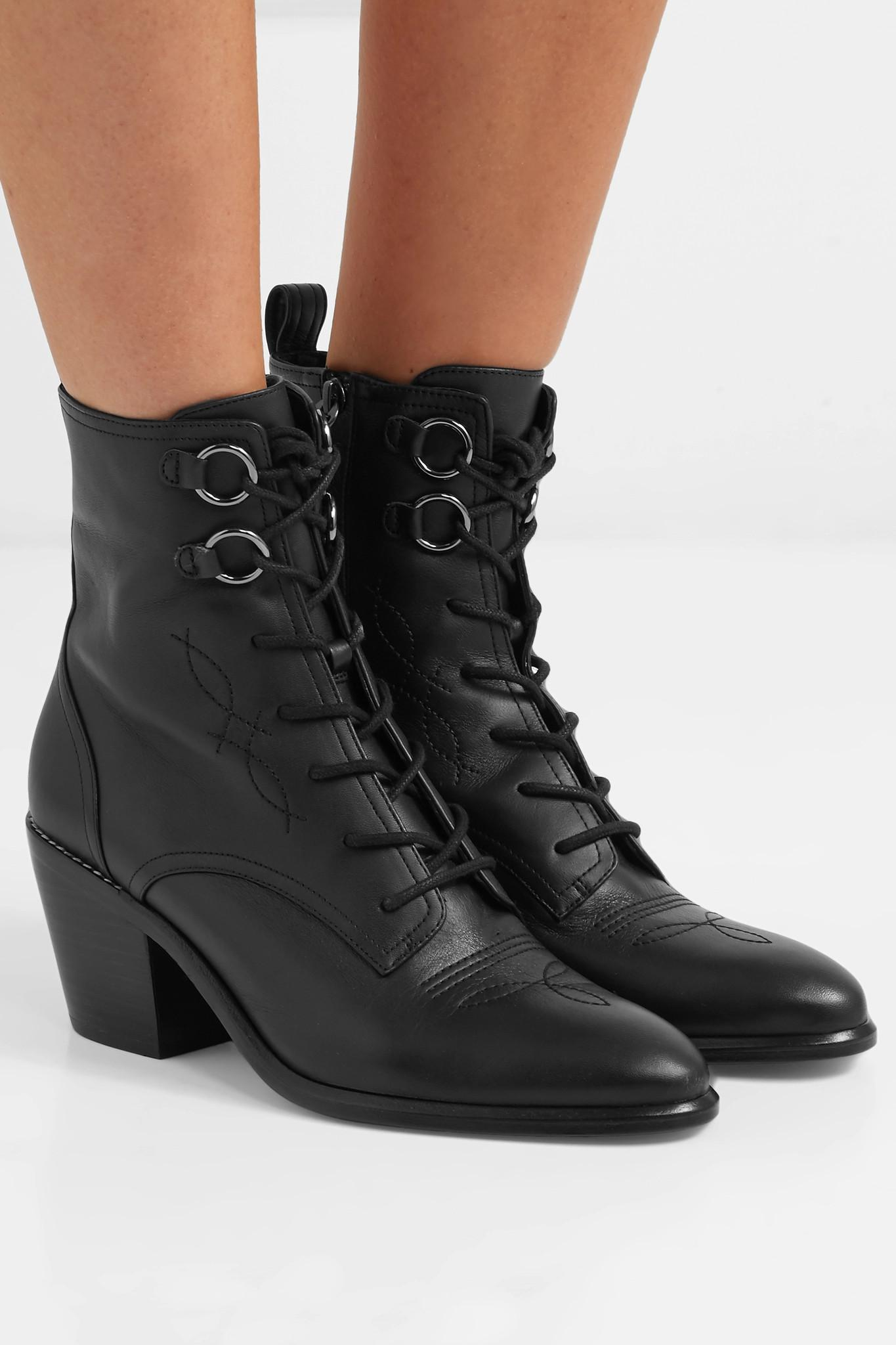 04cef871e738 Diane von Furstenberg - Black Dakota Lace-up Leather Ankle Boots - Lyst.  View fullscreen