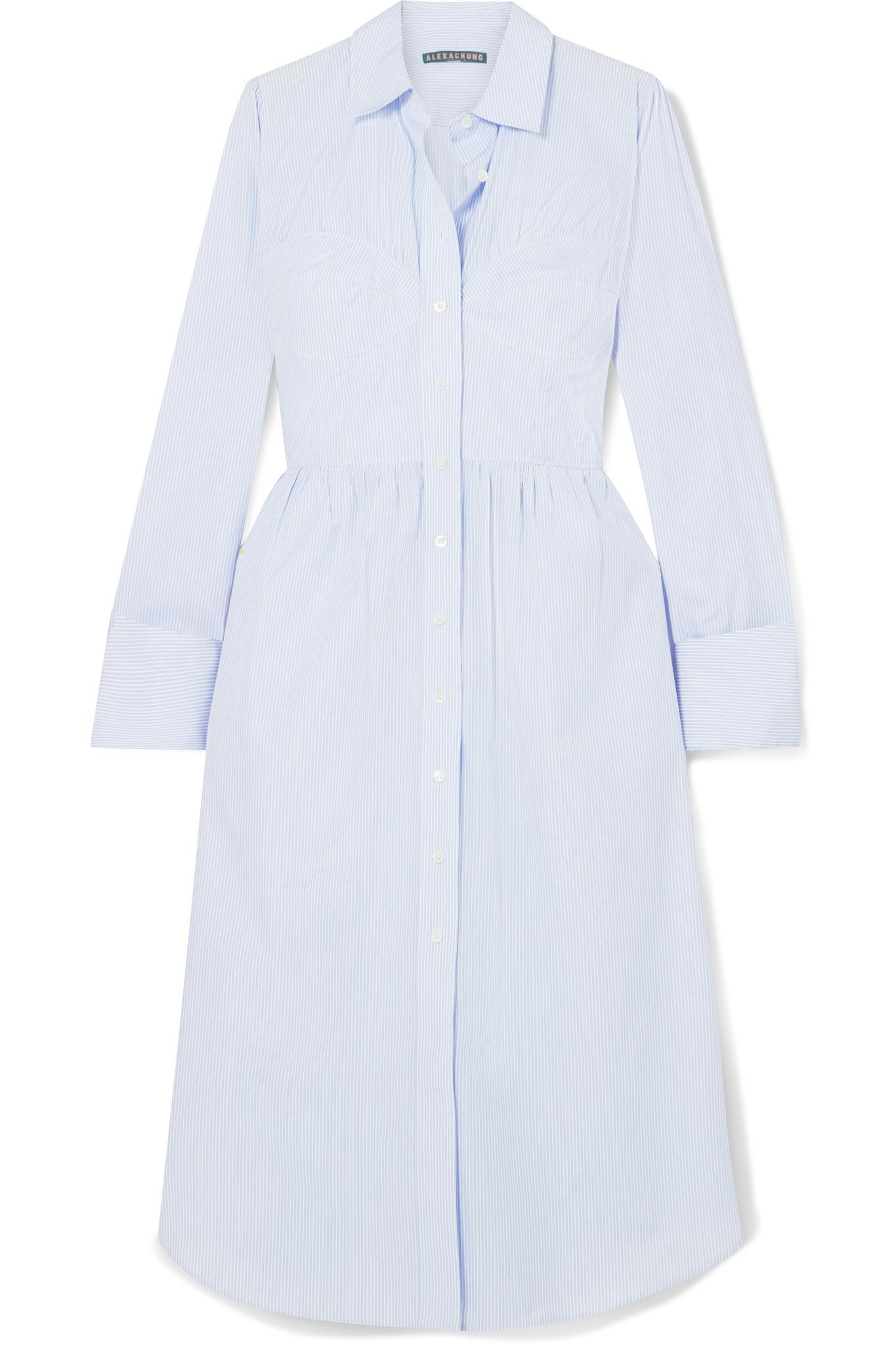 Striped Cotton-poplin Shirt Dress - Blue AlexaChung BPnEF9qScf