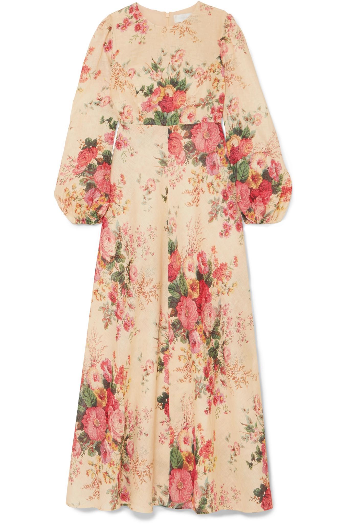 405a0f9b465 Zimmermann Laelia Floral-print Linen Maxi Dress in Pink - Lyst