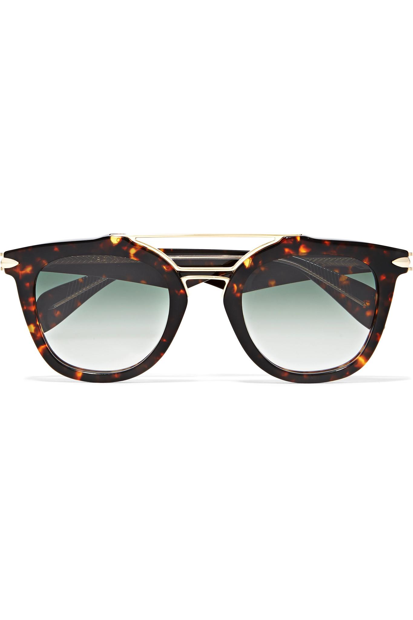 0e438d7106 Lyst - Rag   Bone Cat-eye Tortoiseshell Acetate And Gold-tone Sunglasses