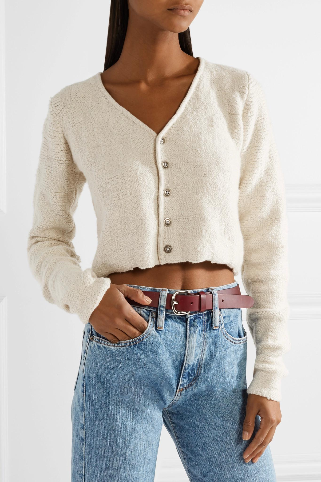 The elder statesman Cropped Cashmere Cardigan in Natural | Lyst
