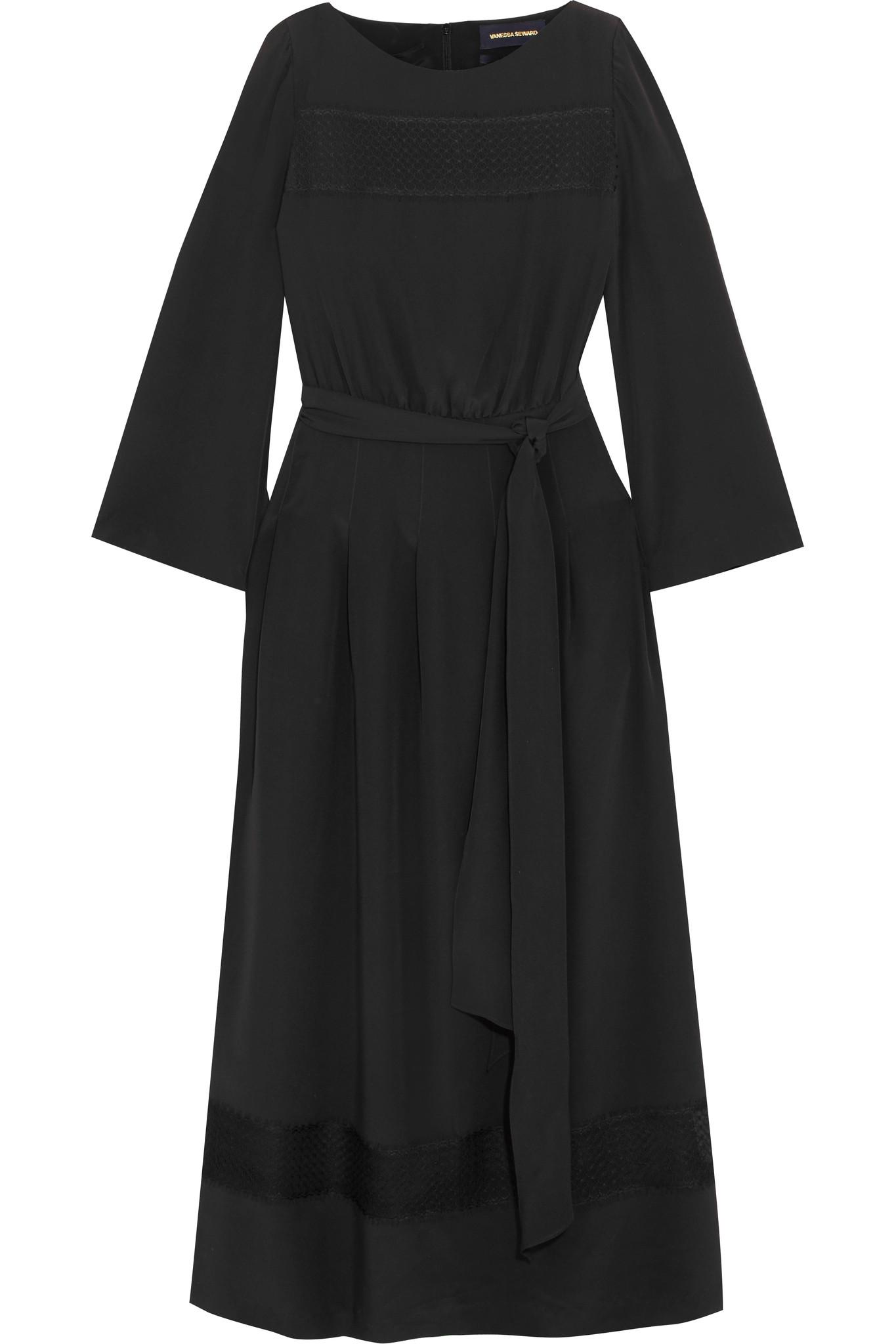 Forever Crochet-paneled Cotton-voile Midi Dress - Black Vanessa Seward Buy Cheap Comfortable hfmMO