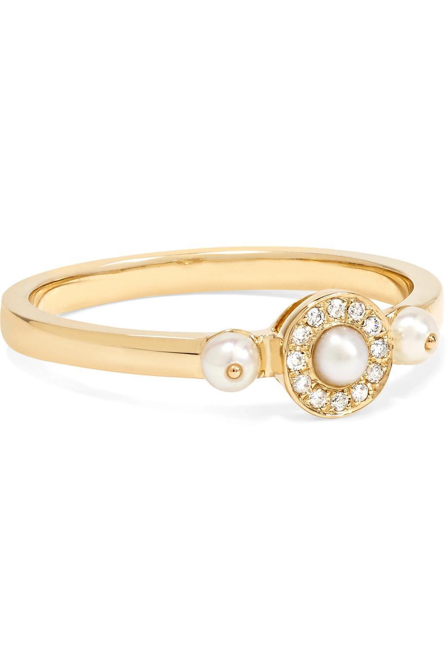 Anissa Kermiche Perle Rare 14-karat Gold, Pearl And Diamond Ring