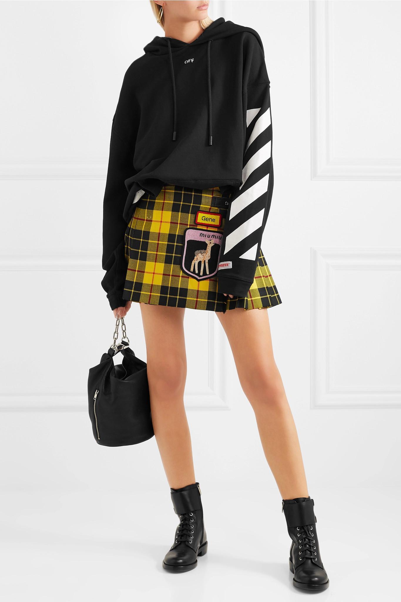 981b585416 Miu Miu Appliquéd Tartan Wool Mini Skirt in Yellow - Lyst