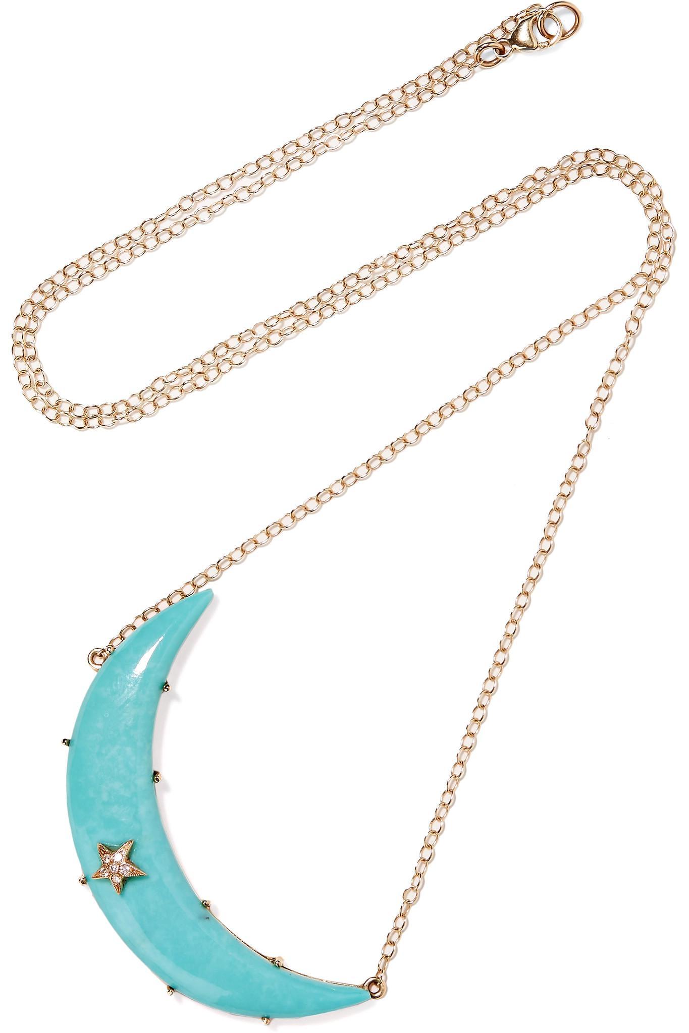 MOnogram Turquoise Enamel Necklace Andrea Fohrman pKD2orPSLX
