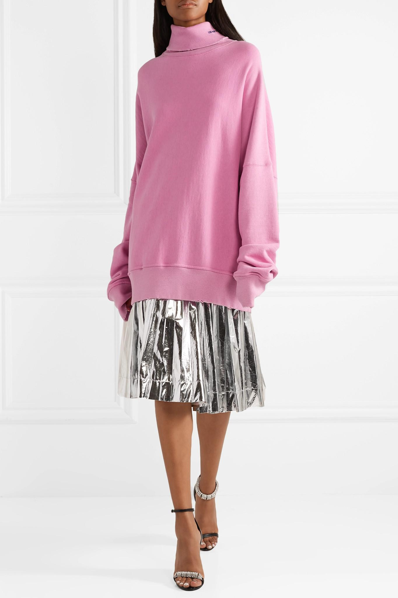 CALVIN KLEIN 205W39NYC - Pink Oversized Embroidered Distressed French  Cotton-terry Turtleneck Sweatshirt - Lyst. View fullscreen 63904a5d6