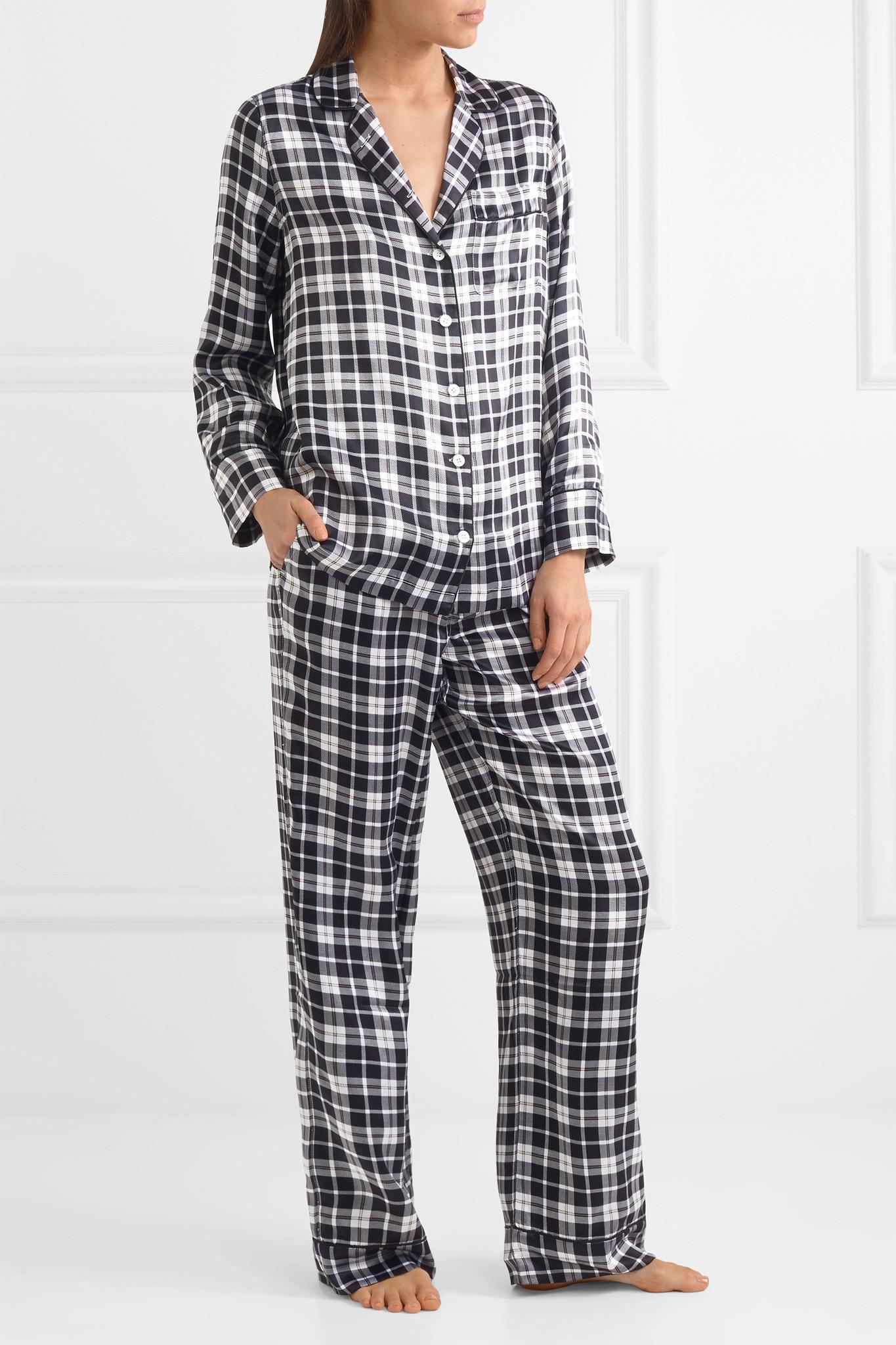 Avery Checked Washed-silk Pajama Set - Black Equipment NCc9t9