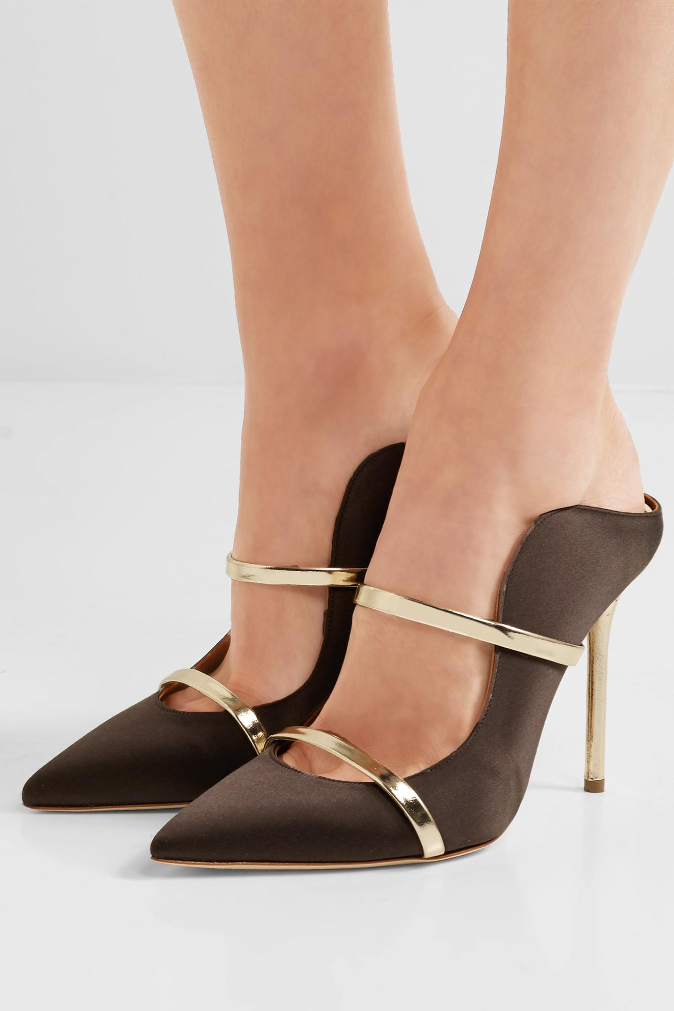 Maureen Leather-Trimmed Satin Mules Malone Souliers Tymsp