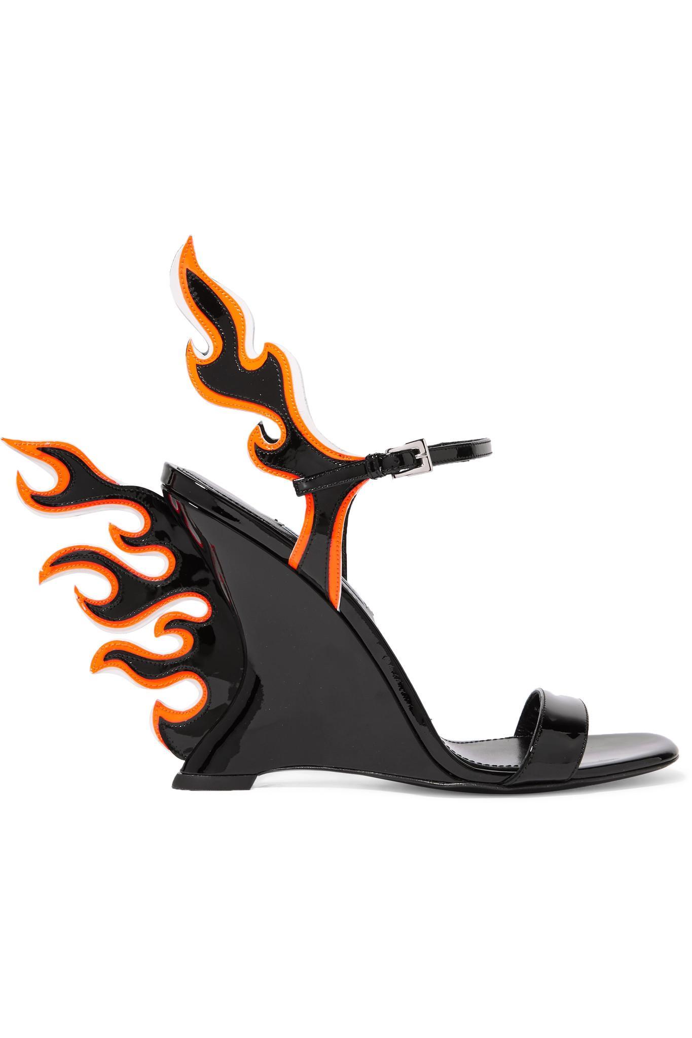 237994cf21cf Prada Patent-leather Wedge Sandals in Black - Lyst