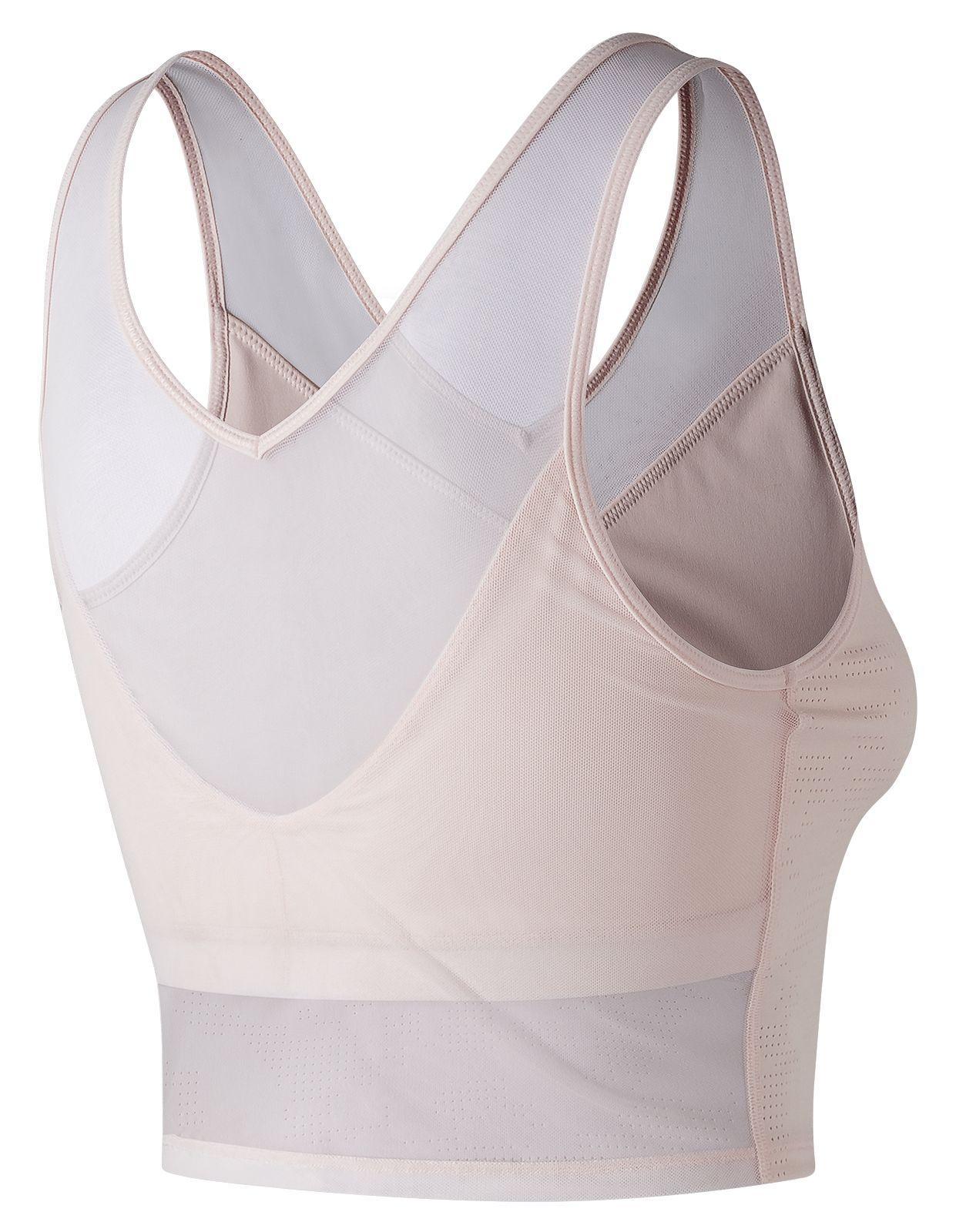 a10ff7cea4f83 New Balance Pink Feel The Cool Lace Crop Bra. View fullscreen