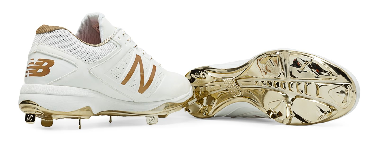 388536540d7a ... where can i buy lyst new balance metallic trimmed leather sneakers in  white for men 68f4c