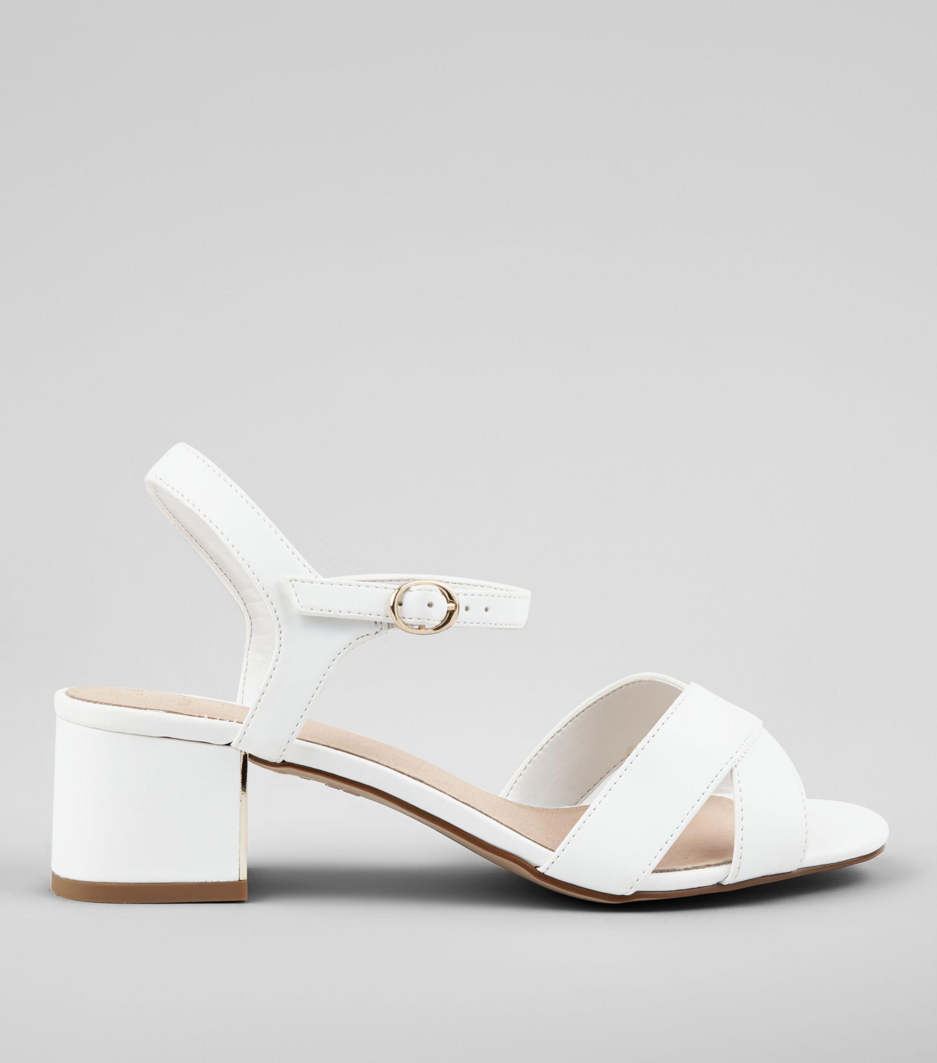 fd4fcb71939 New Look Wide Fit White Comfort Cross Strap Block Heel Sandals in ...