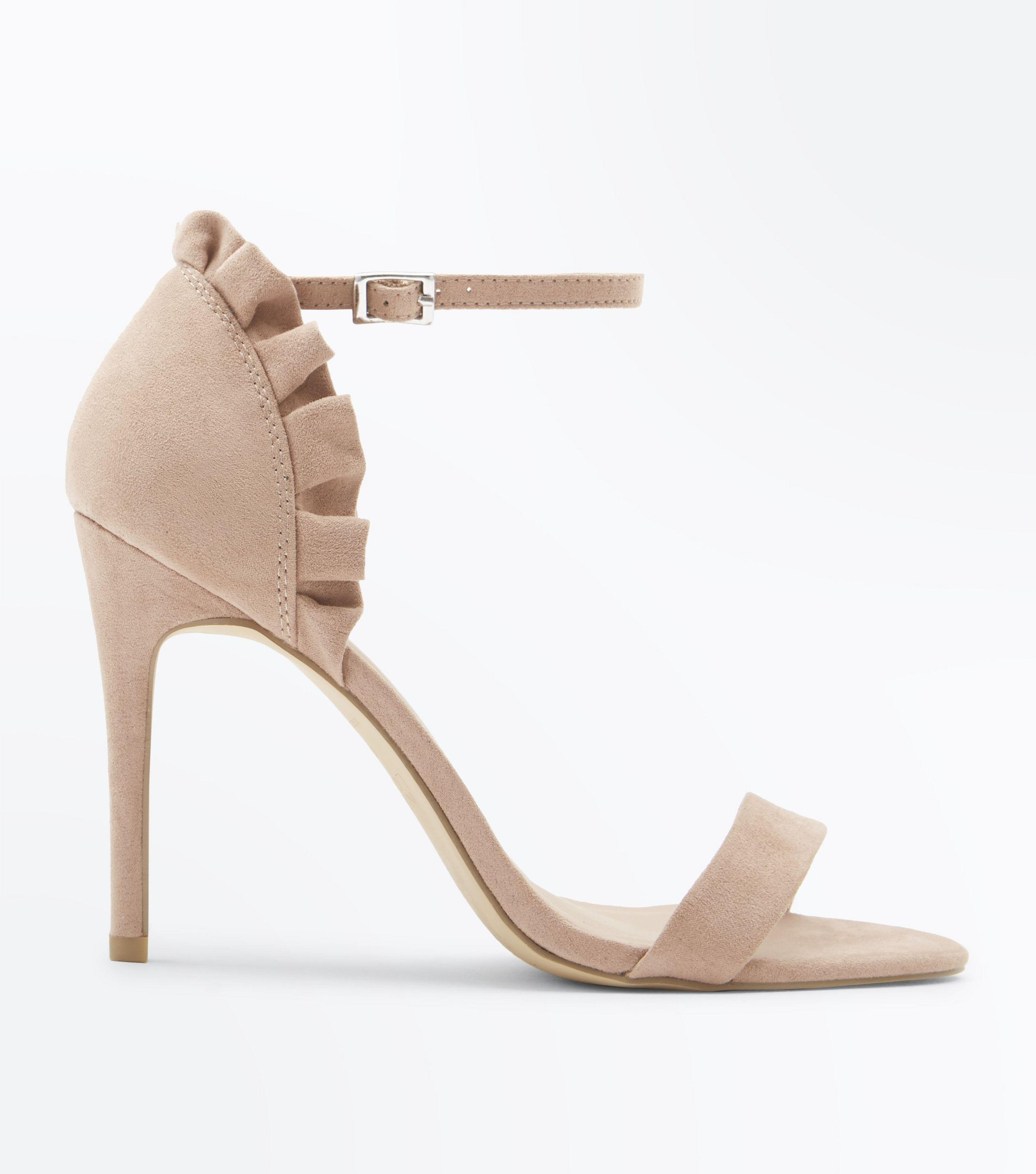 445b3665ec New Look Nude Suedette Frill Back Stiletto Heel Sandals in Natural ...