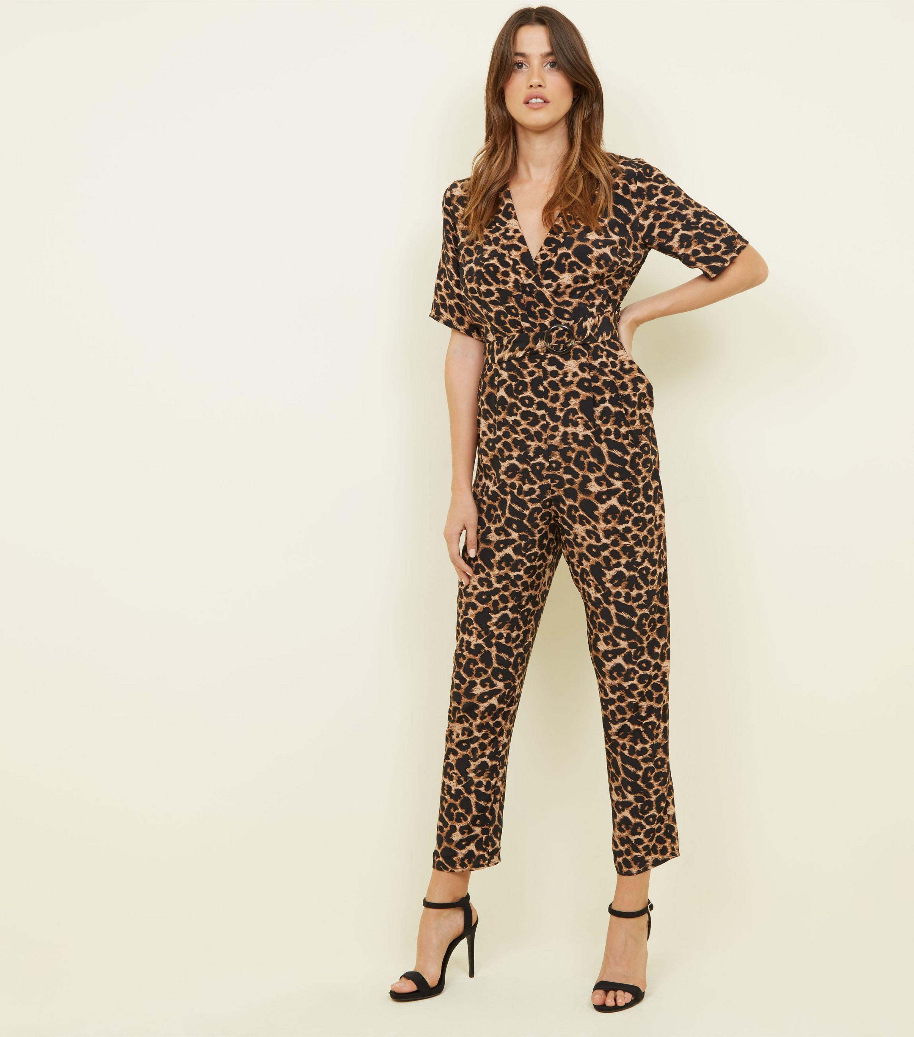 77965f9eb52 New Look Brown Leopard Print Revere Collar Wrap Jumpsuit in Brown - Lyst