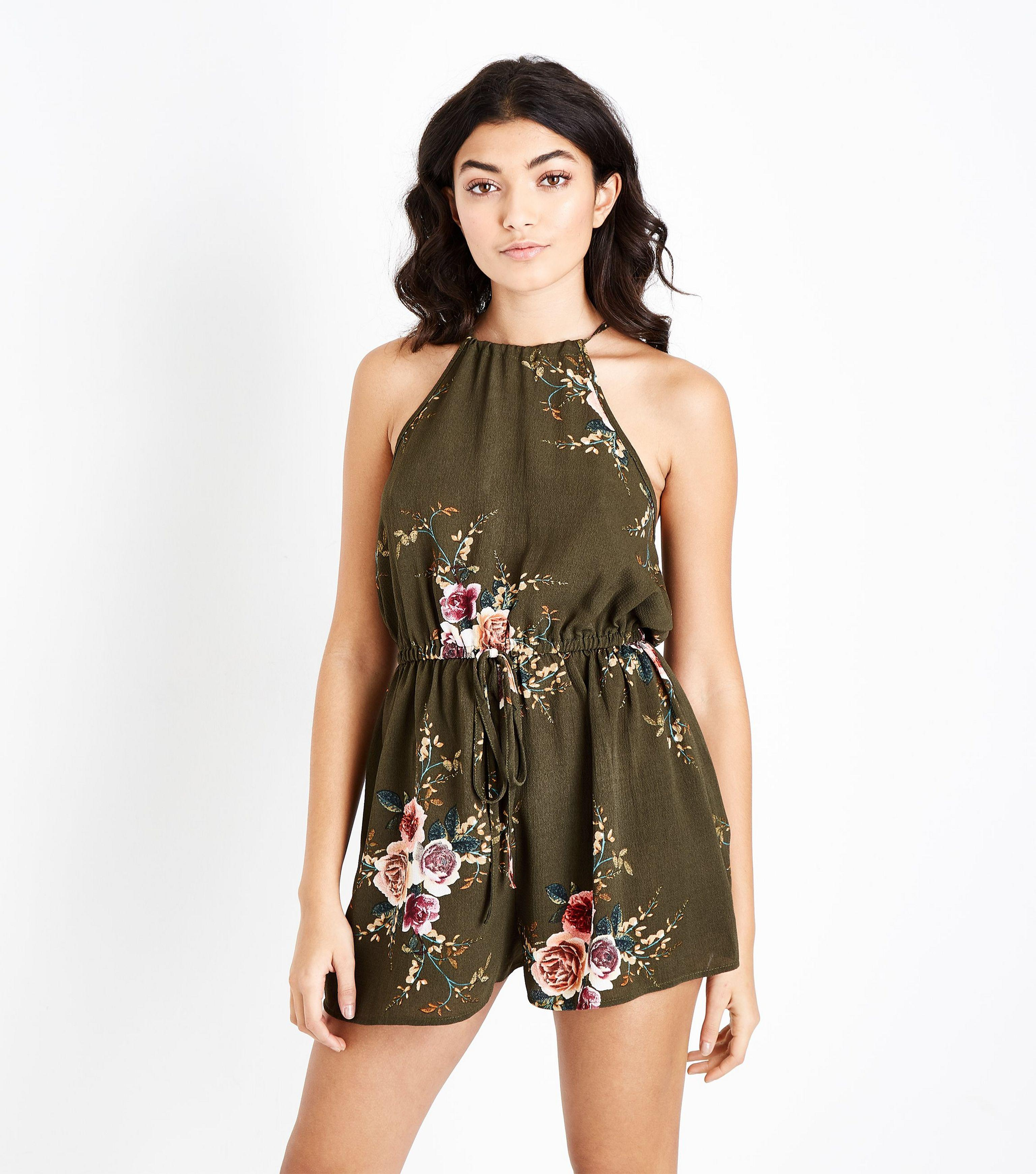 01726de8743 AX Paris Khaki Floral Drawstring Waist Playsuit in Green - Lyst