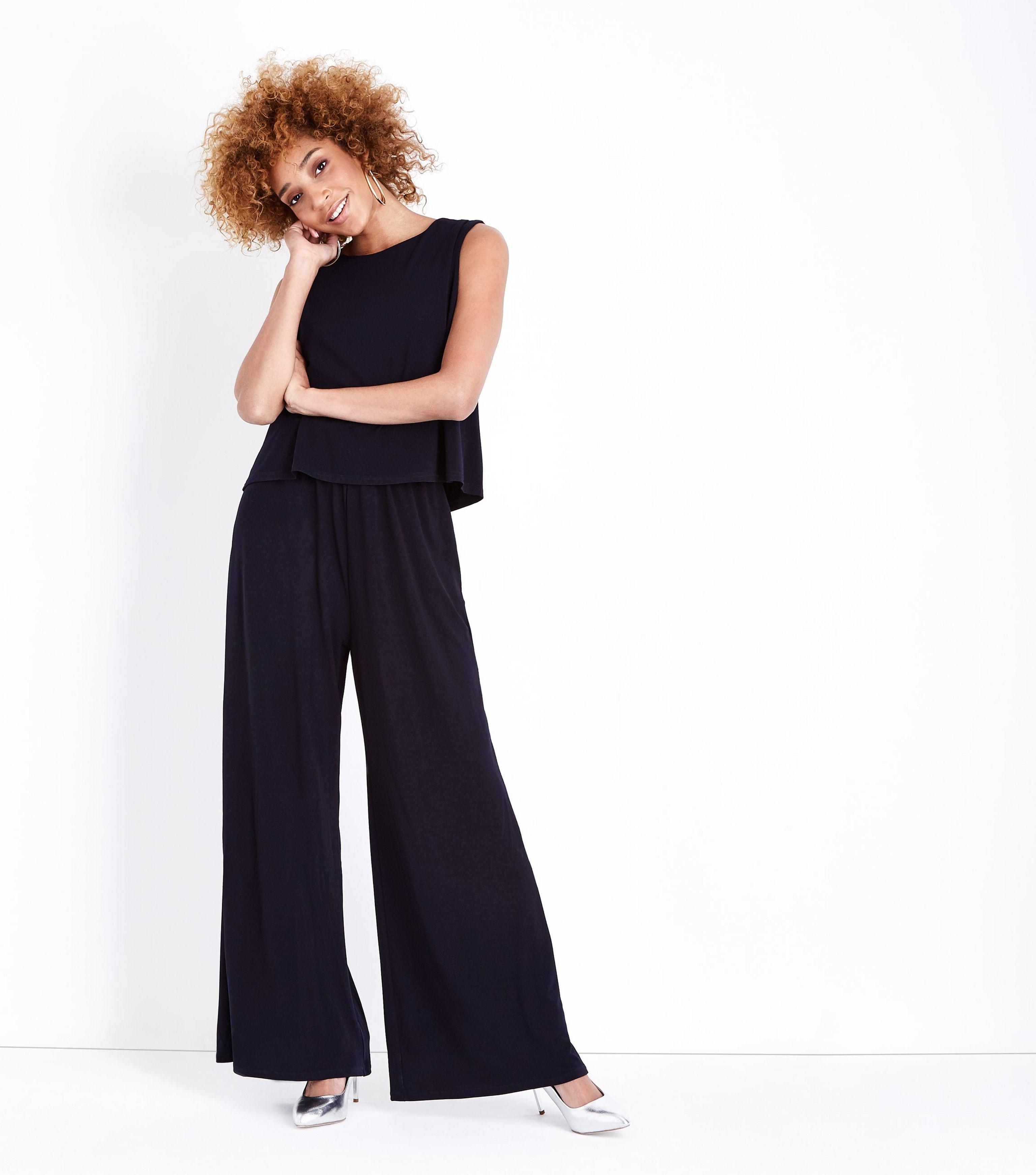 b64a9060cdae Mela Navy Layered Culotte Jumpsuit in Blue - Lyst