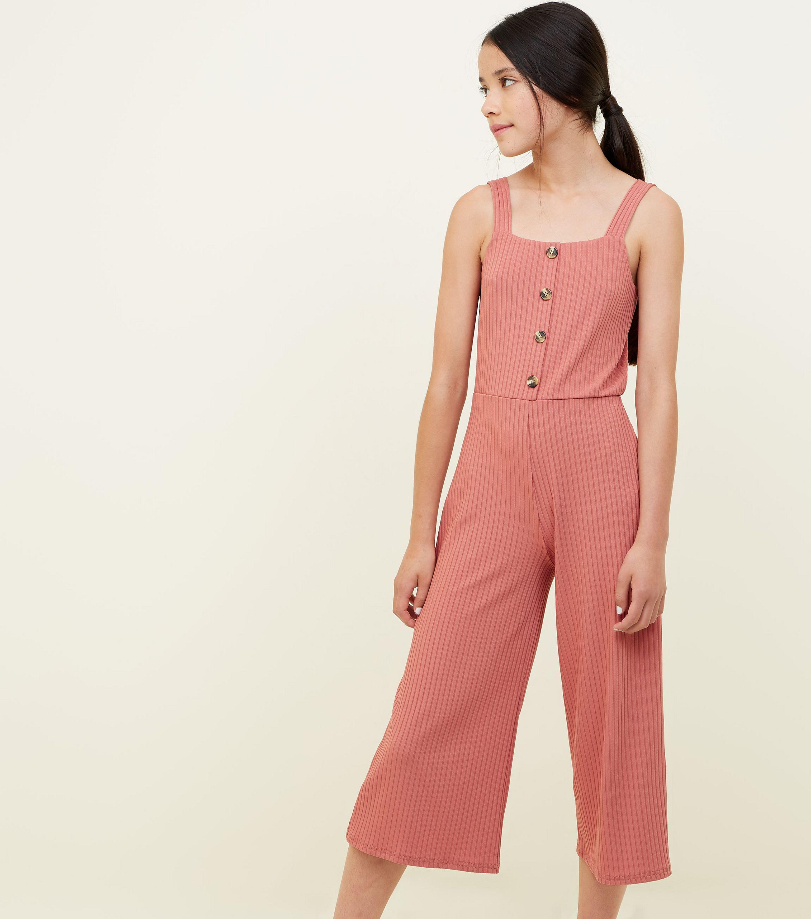 8c351bbb0c New Look Girls Coral Ribbed Button Front Jumpsuit in Pink - Lyst