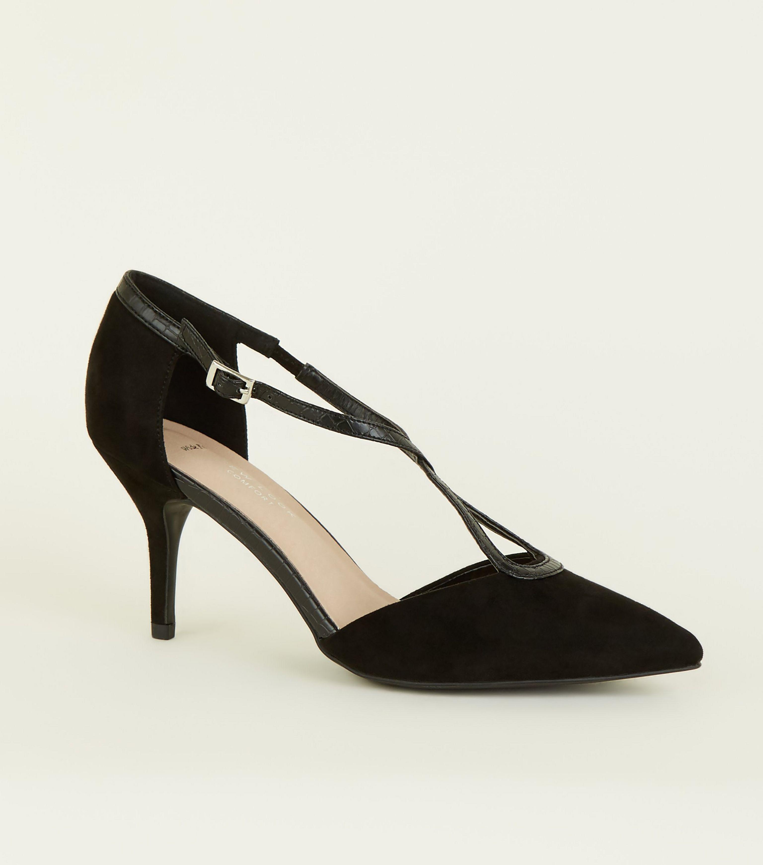 ac22f75489 New Look. Women's Wide Fit Black Comfort Flex Suedette Cross Strap Heels