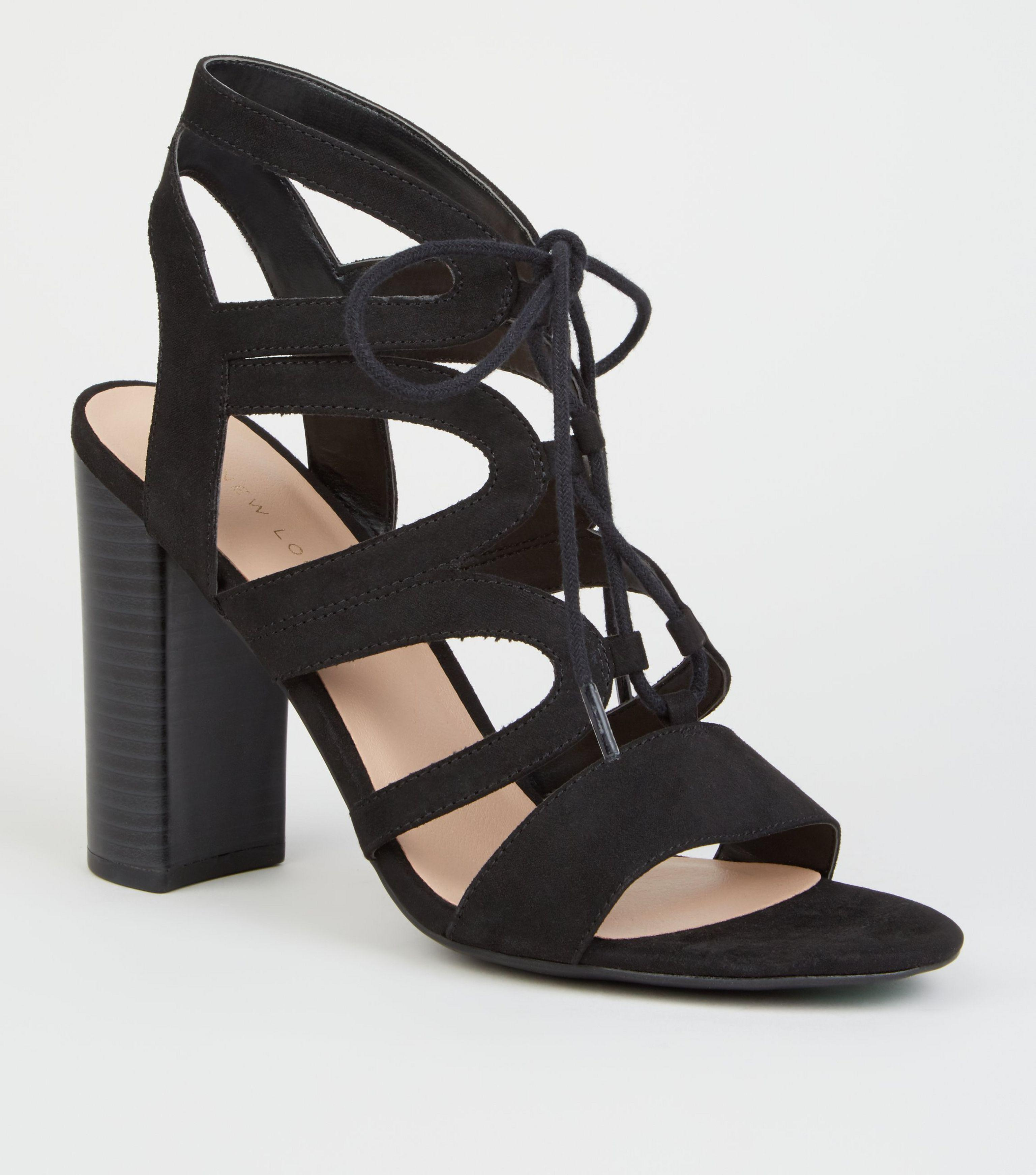 232b98621f0 New Look Black Suedette Lace Up Ghillie Block Heels in Black - Lyst
