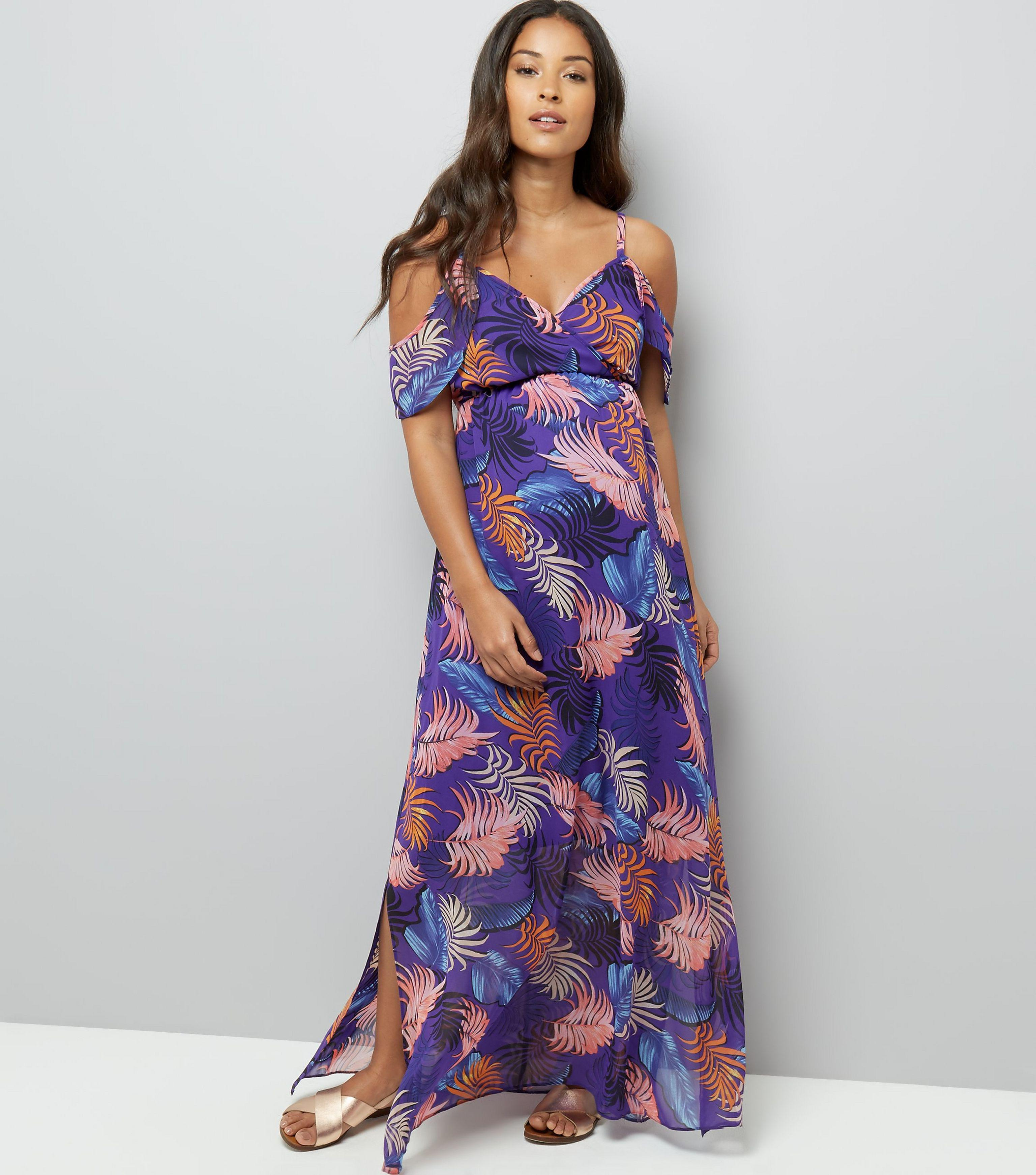 aadbc94e45260 New Look Maternity Purple Tropical Print Cold Shoulder Maxi Dress in ...