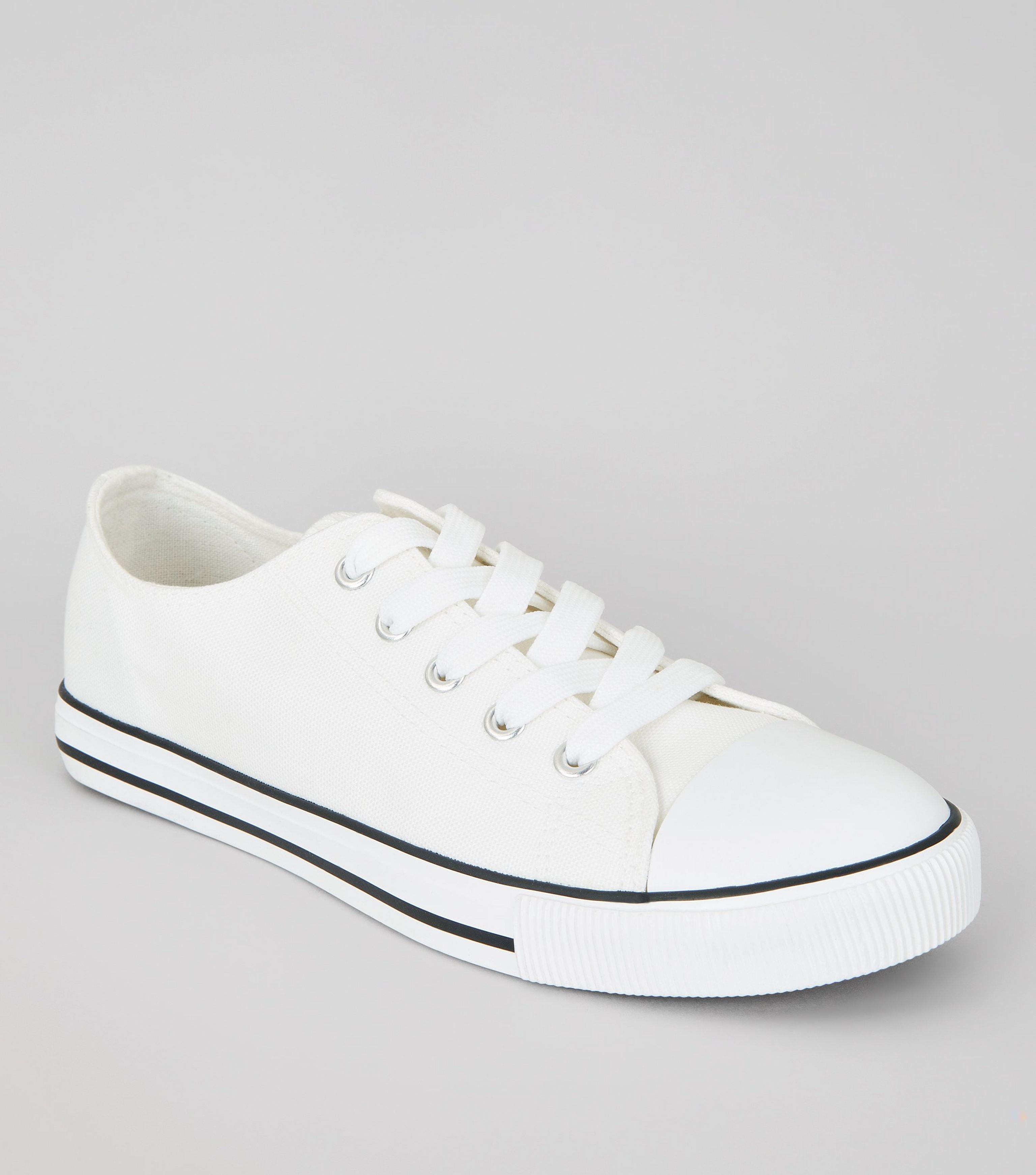e4834e508cac New Look White Canvas Stripe Sole Trainers in White - Lyst